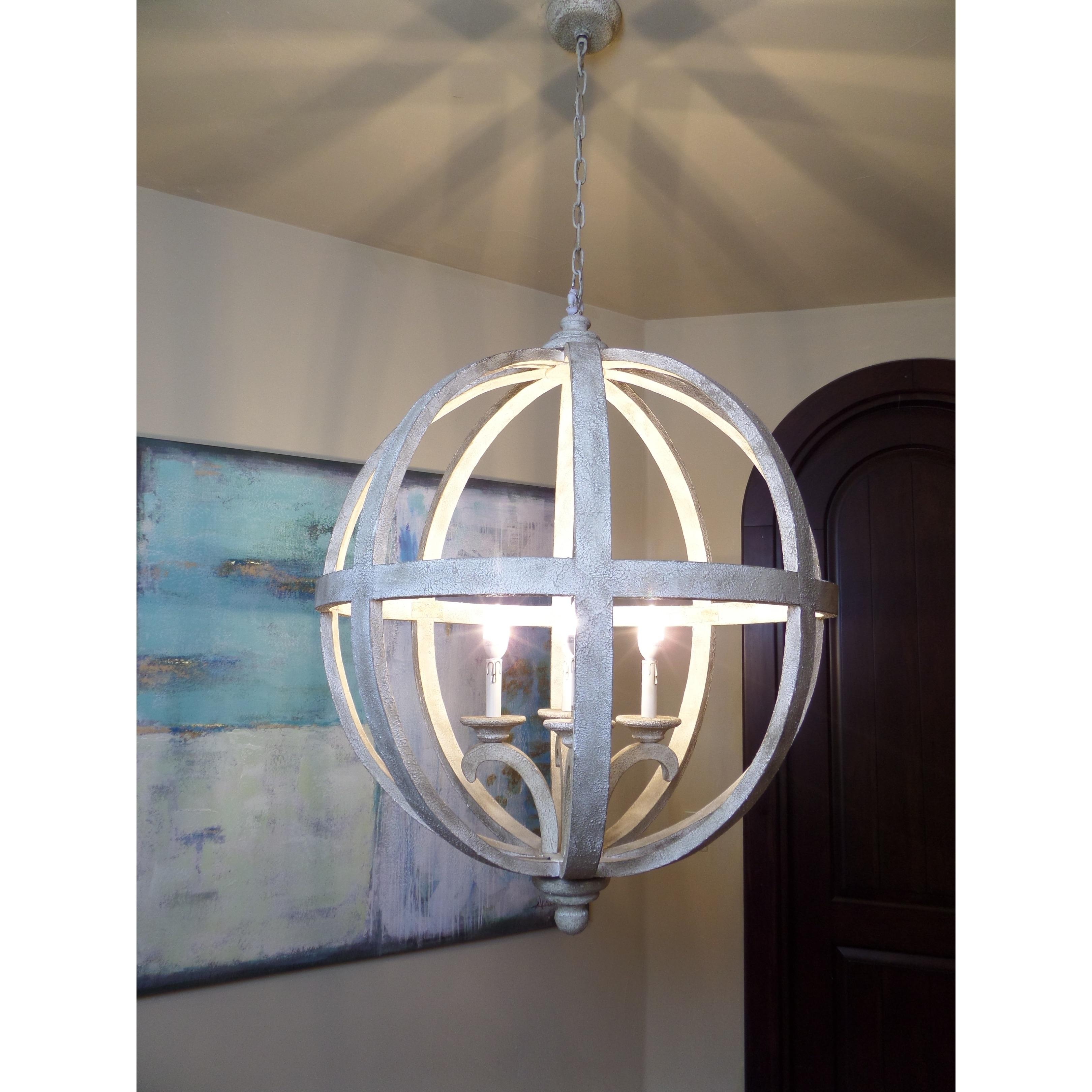 Y Decor Hercules 4 Light Chandelier in Wooden Globe Frame