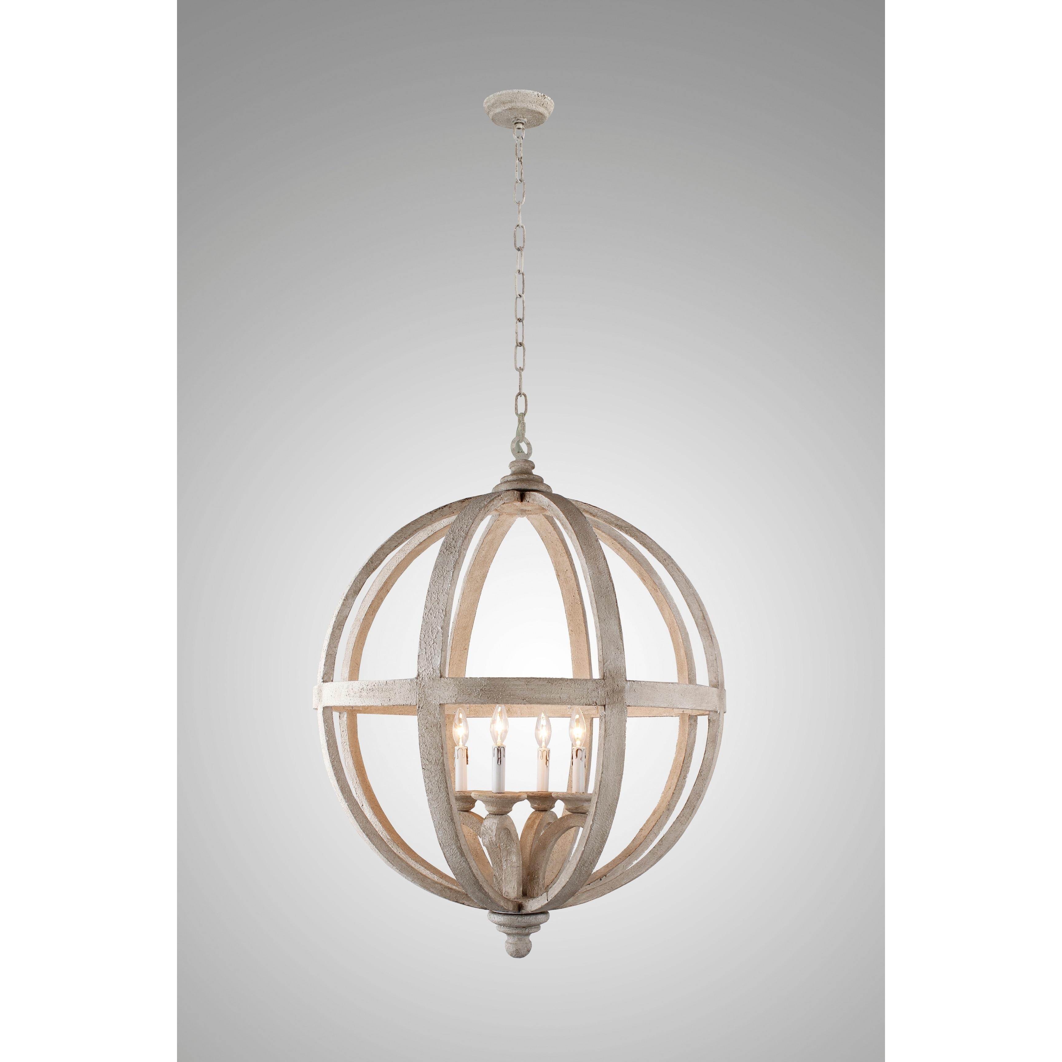Y decor hercules 4 light chandelier in wooden globe frame neutral