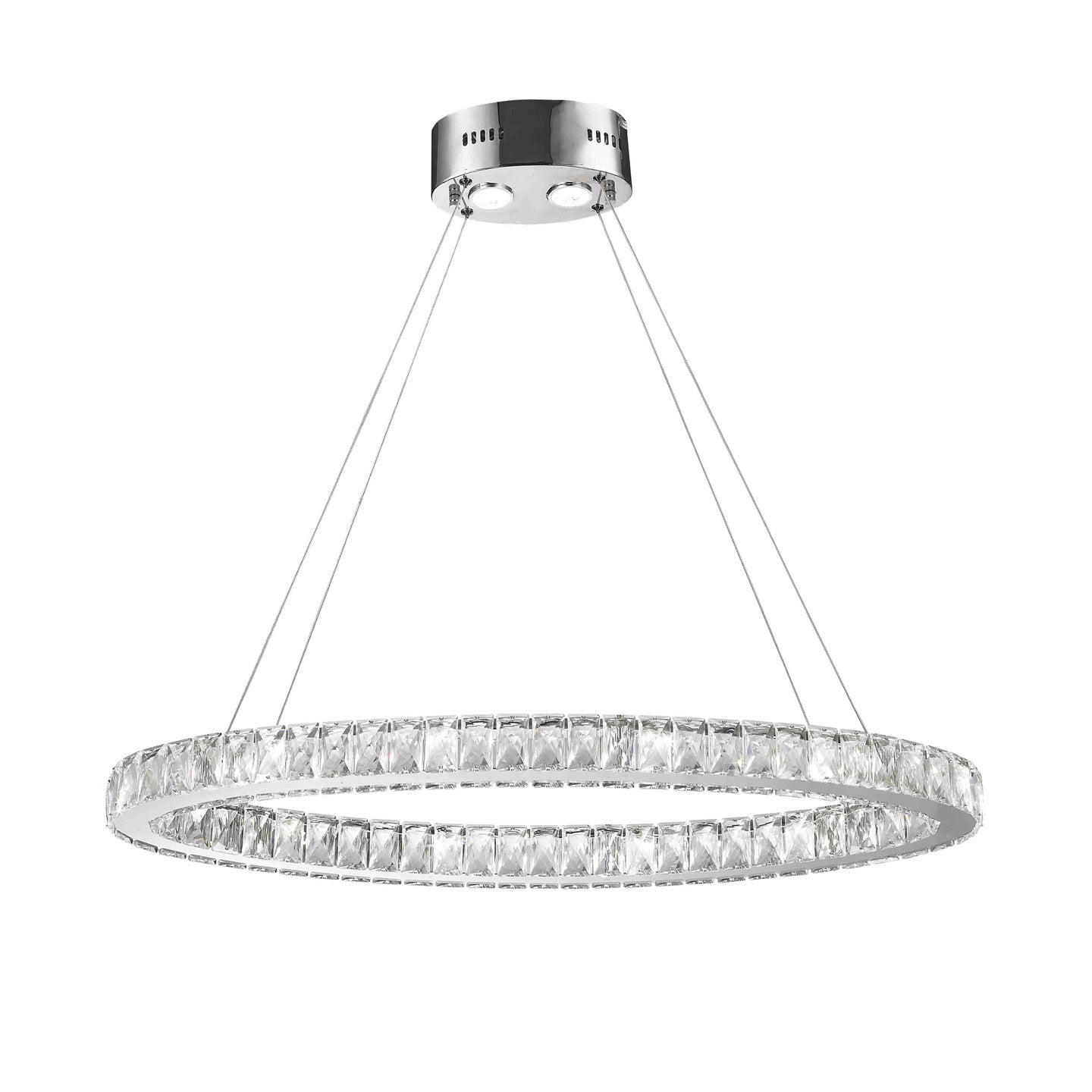 Galaxy 14 LED light Chrome Finish and Clear Crystal Oval Ring