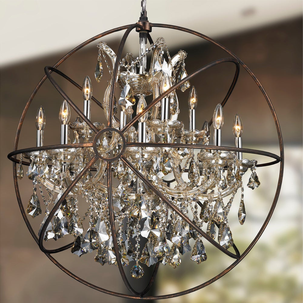 Foucaults orb chandelier 13 light chrome finish golden teak foucaults orb chandelier 13 light chrome finish golden teak crystal flemish brass finish cage free shipping today overstock 18761958 arubaitofo Choice Image