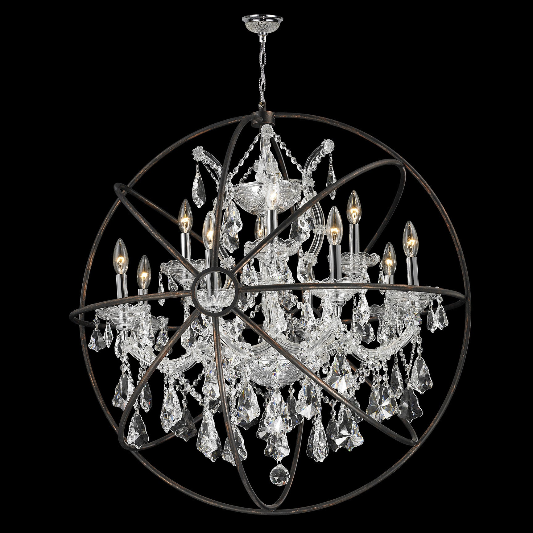 Foucault s Orb Chandelier 13 light Chrome Finish and Clear Crystal