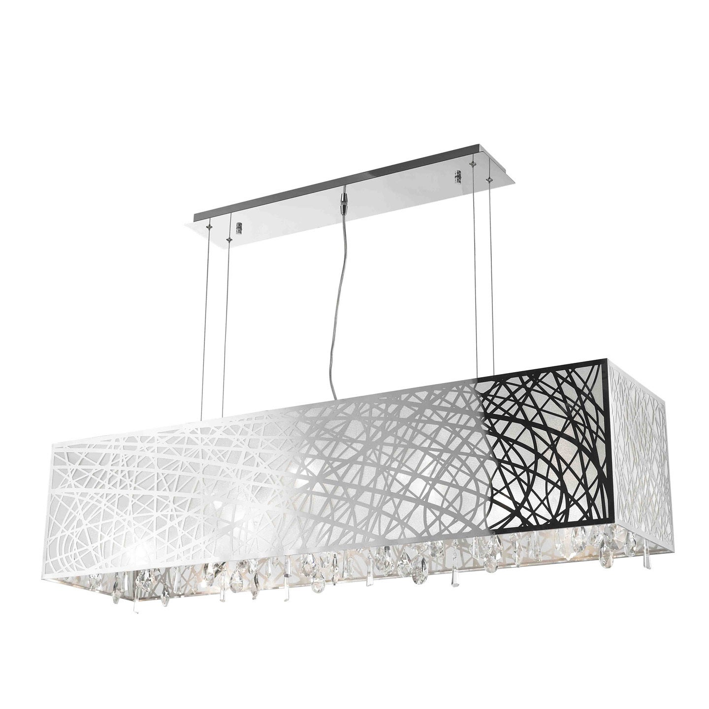 High Gloss Modern 10 light Chrome Finish Rectangle Drum Shade with