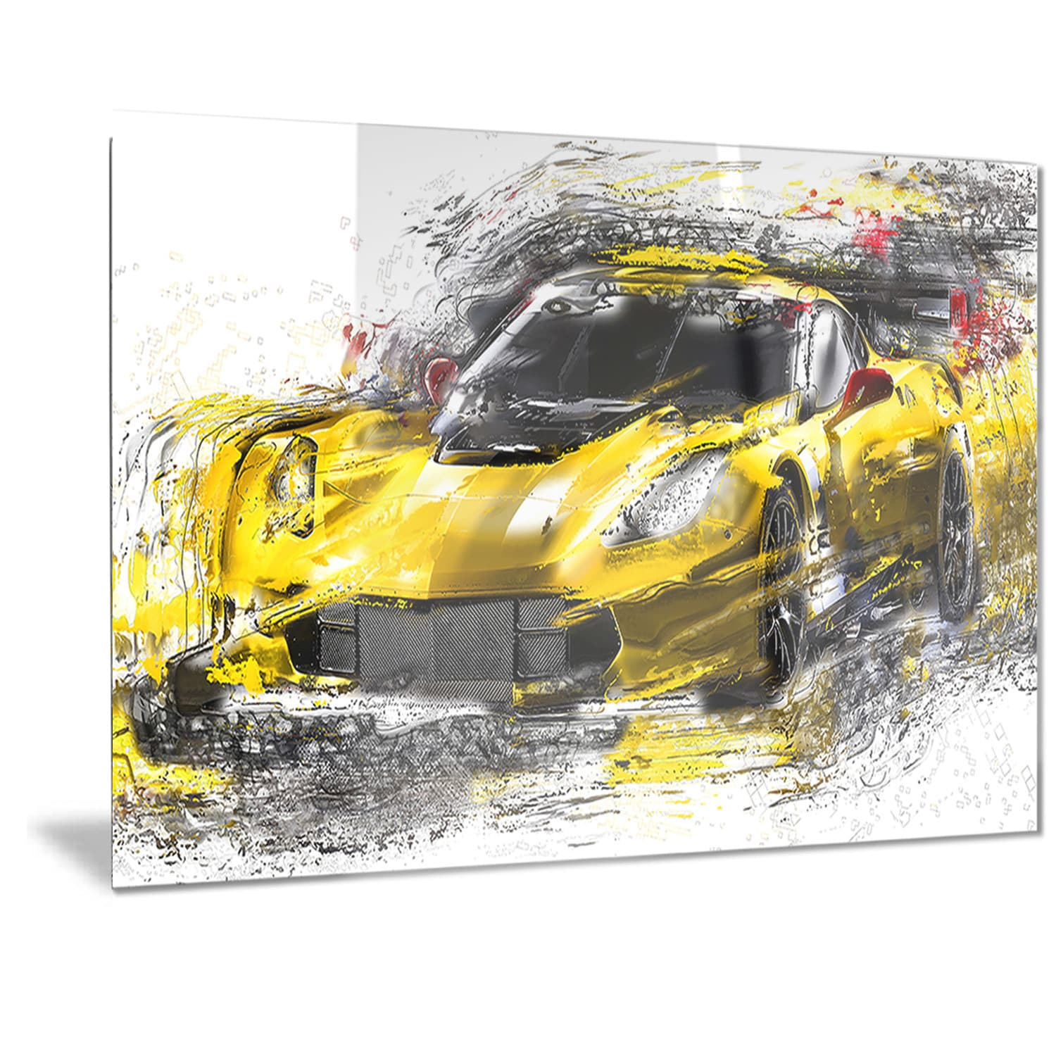 Designart Black and Yellow Speedster Metal Wall Art - Free Shipping ...
