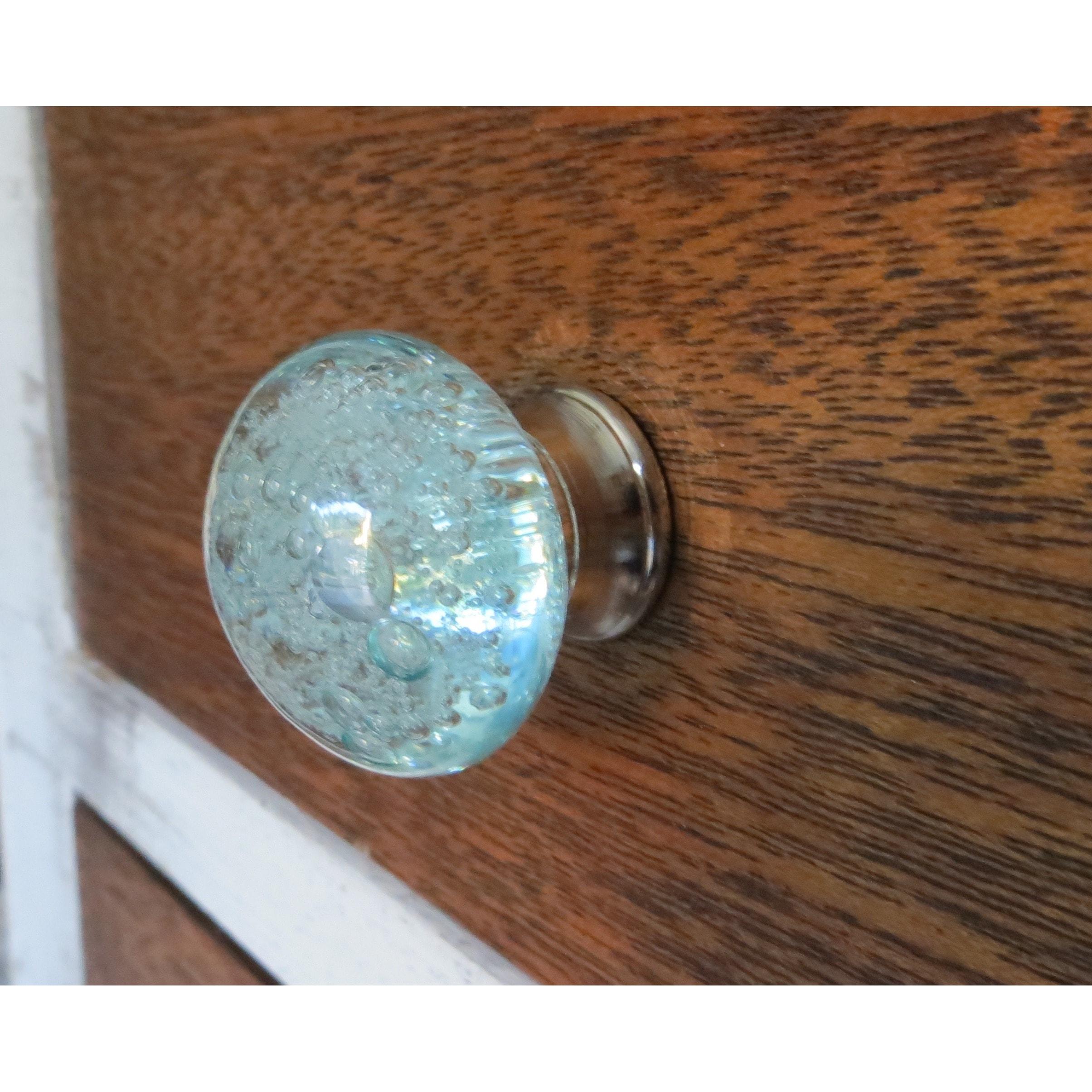 Aqua Blue Bubbles Glass Drawer/ Door/ Cabinet Pull Knob (Pack of 6)