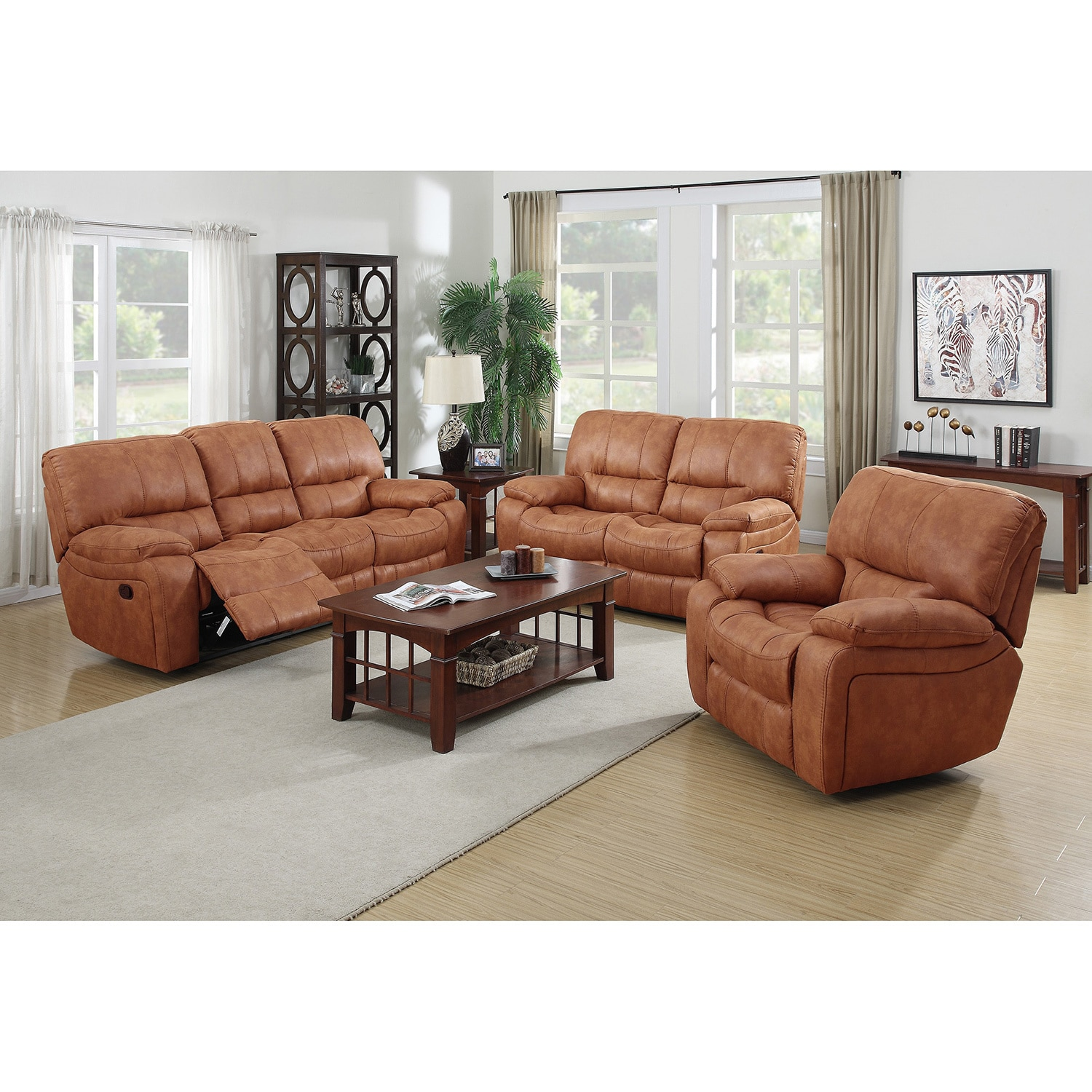 Silverado Modern Printed Leather and Fabric Reclining