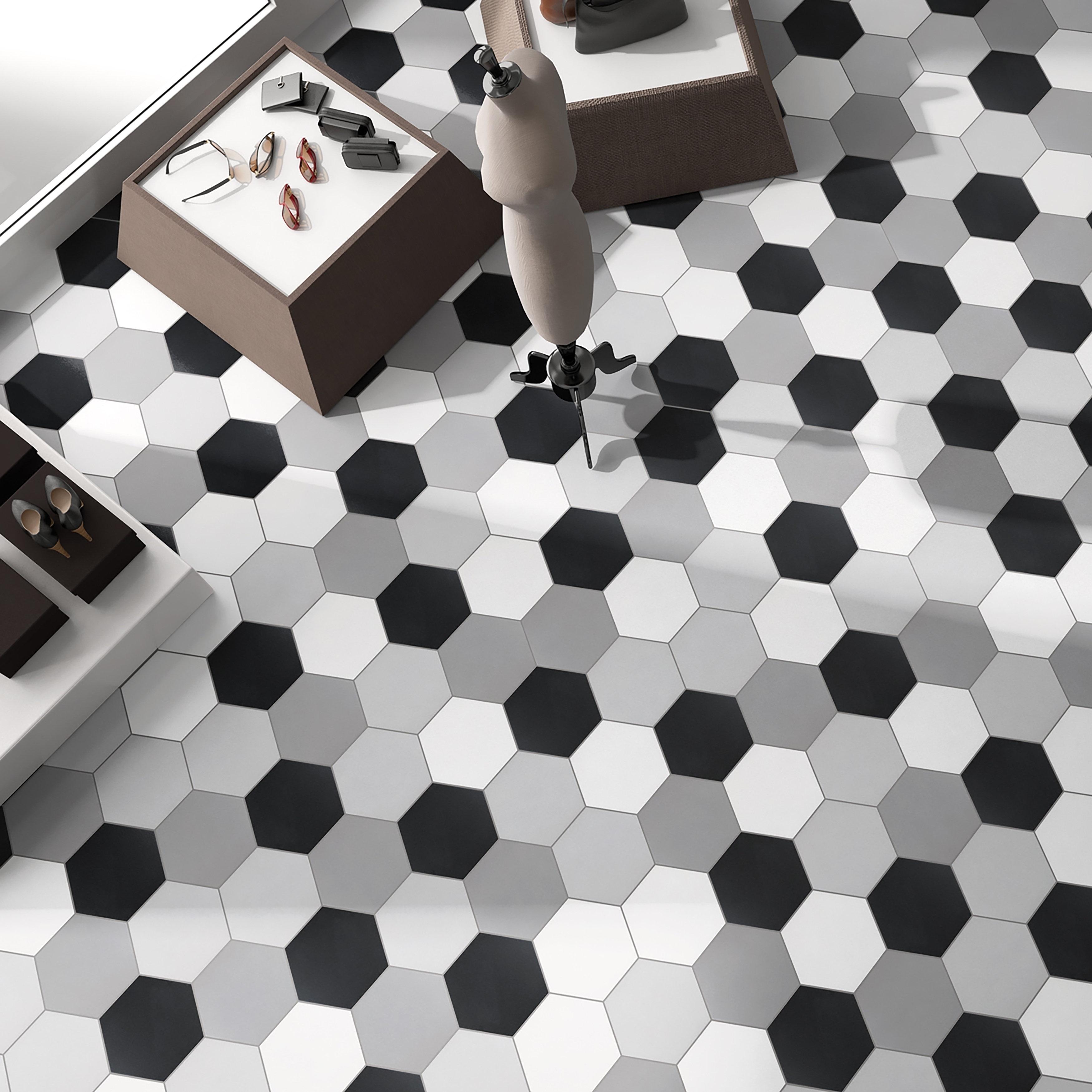 Shop Somertile 8625x9875 Inch Textilis Black Hex Porcelain Floor