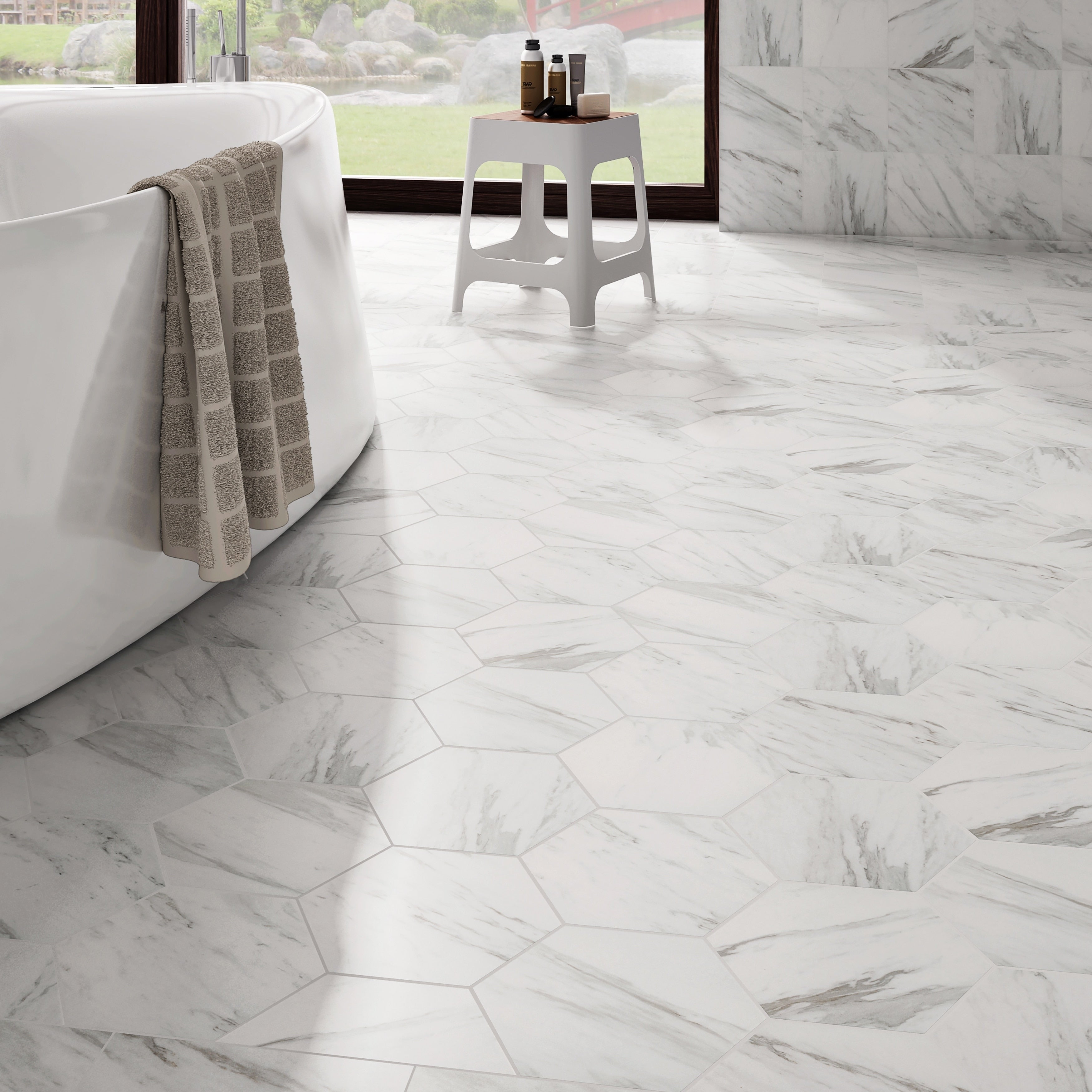 Somertile 8 625x9 875 Inch Marmol Carrara Hex Porcelain Floor And Wall Tile Case Of 25 Free Shipping Today 18763447