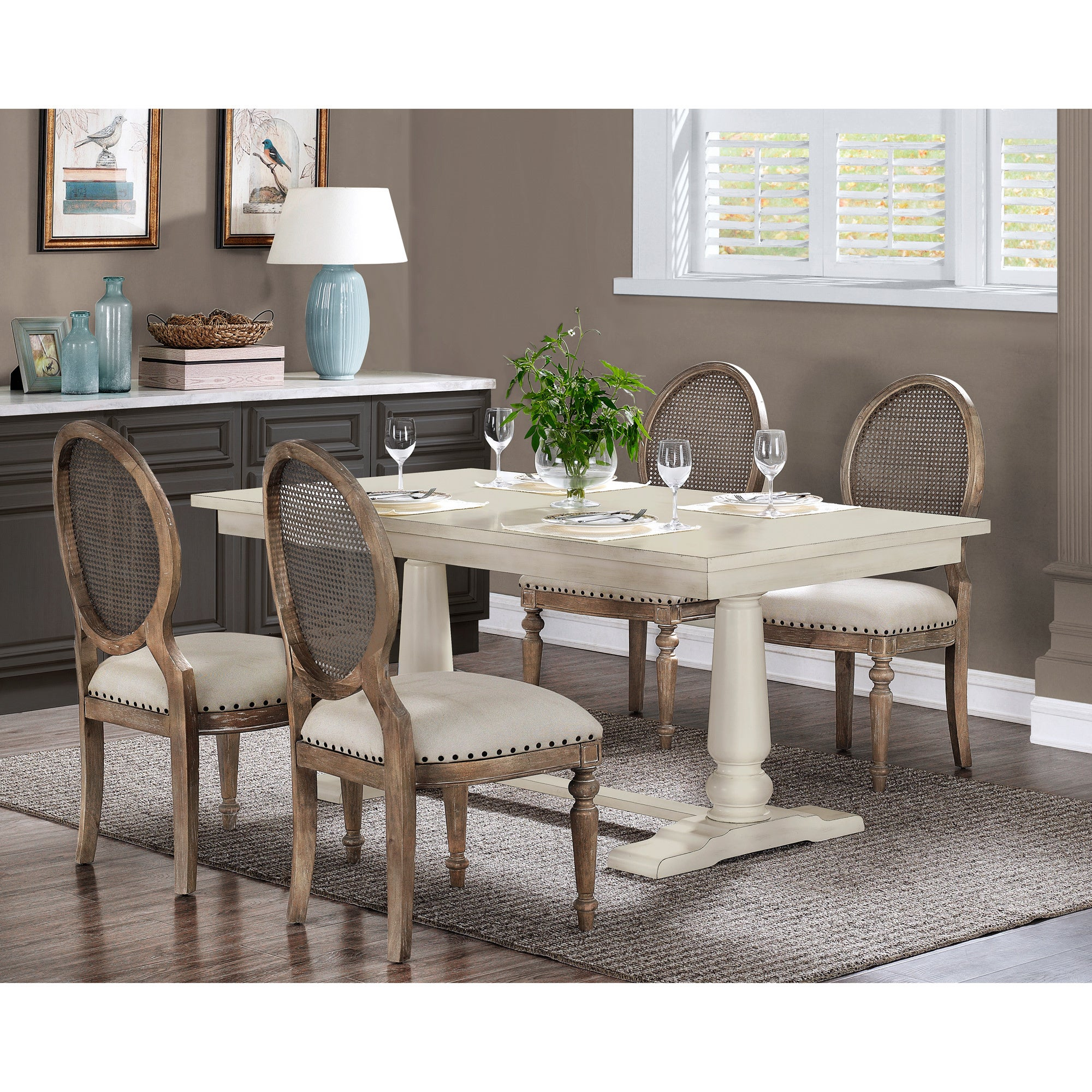 Stones U0026 Stripes Farmhouse White Pedestal Dining Table   Free Shipping  Today   Overstock   80008467
