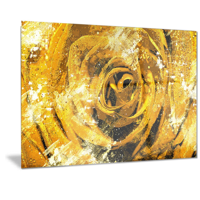 Shop Designart \'Center of the Yellow Rose\' Floral Metal Wall Art ...