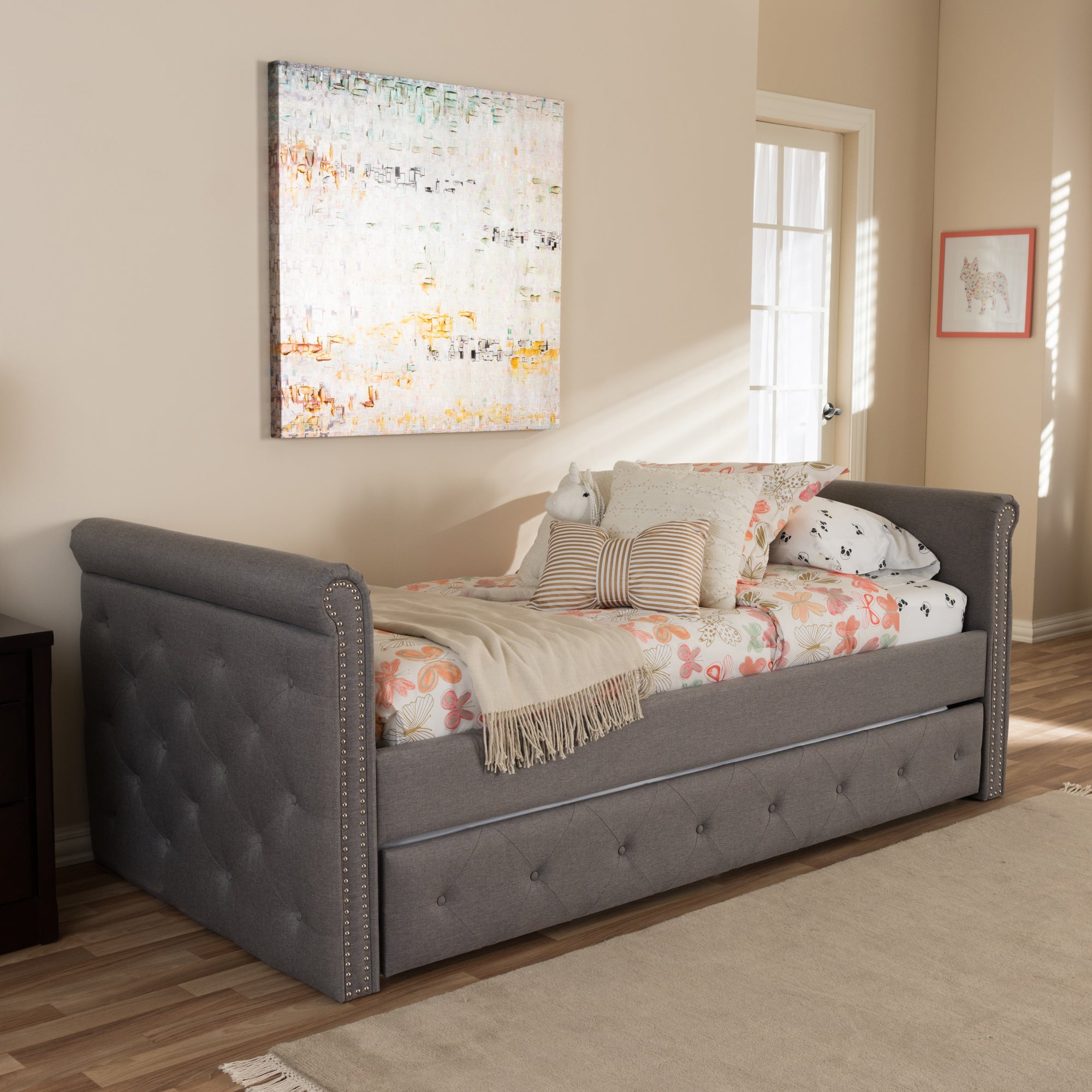 e692dff9b81 Shop Baxton Studio Aisopos Modern and Contemporary Grey Fabric Tufted Twin  Size Daybed with Roll-out Trundle Guest Bed - Free Shipping Today -  Overstock - ...