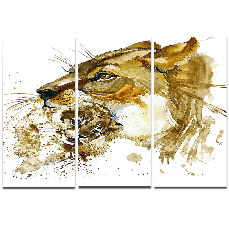 Designart \'Lioness and Cub Illustration\' Animal Metal Wall Art ...