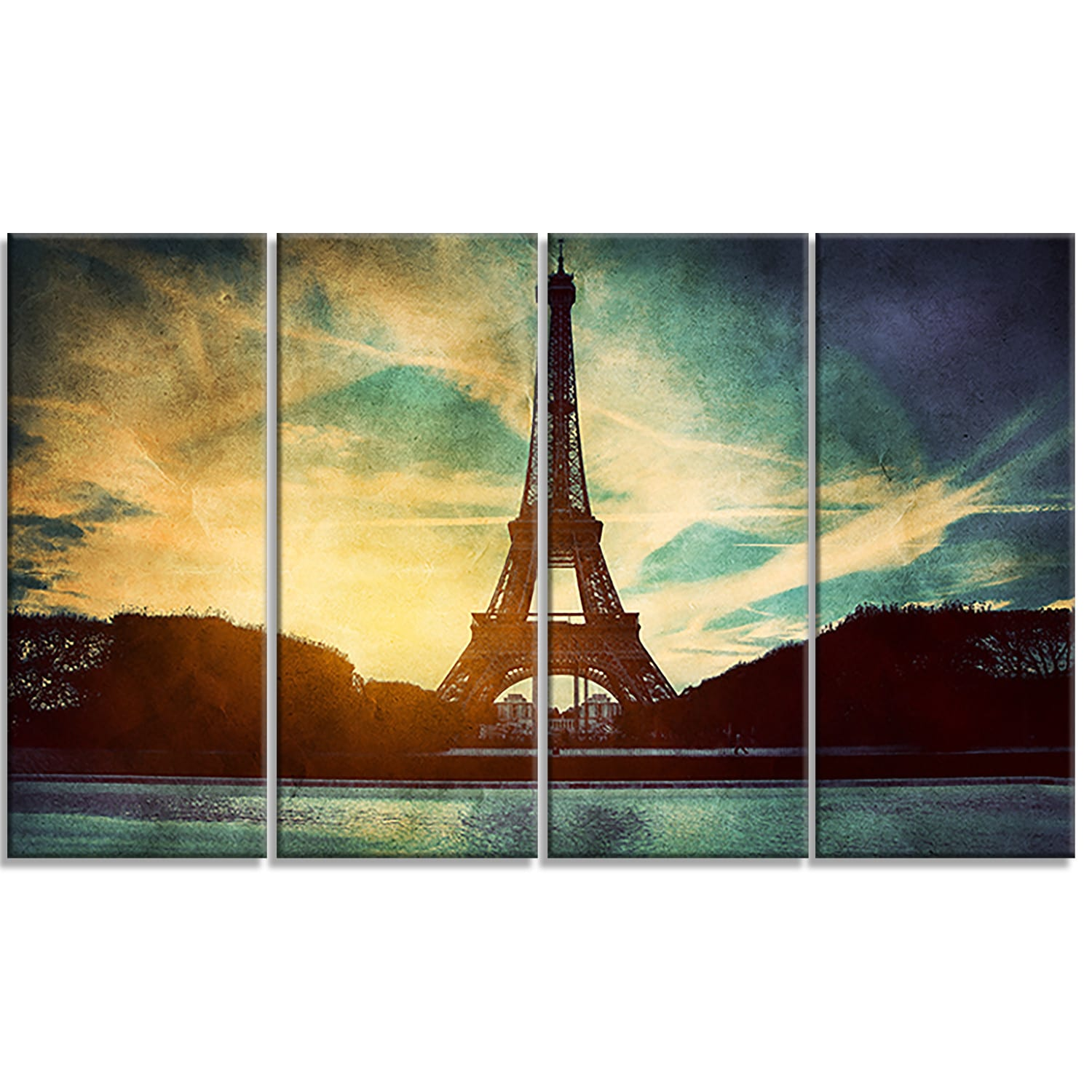 Shop Designart \'Eiffel Tower Retro Style\' Cityscape Metal Wall Art ...