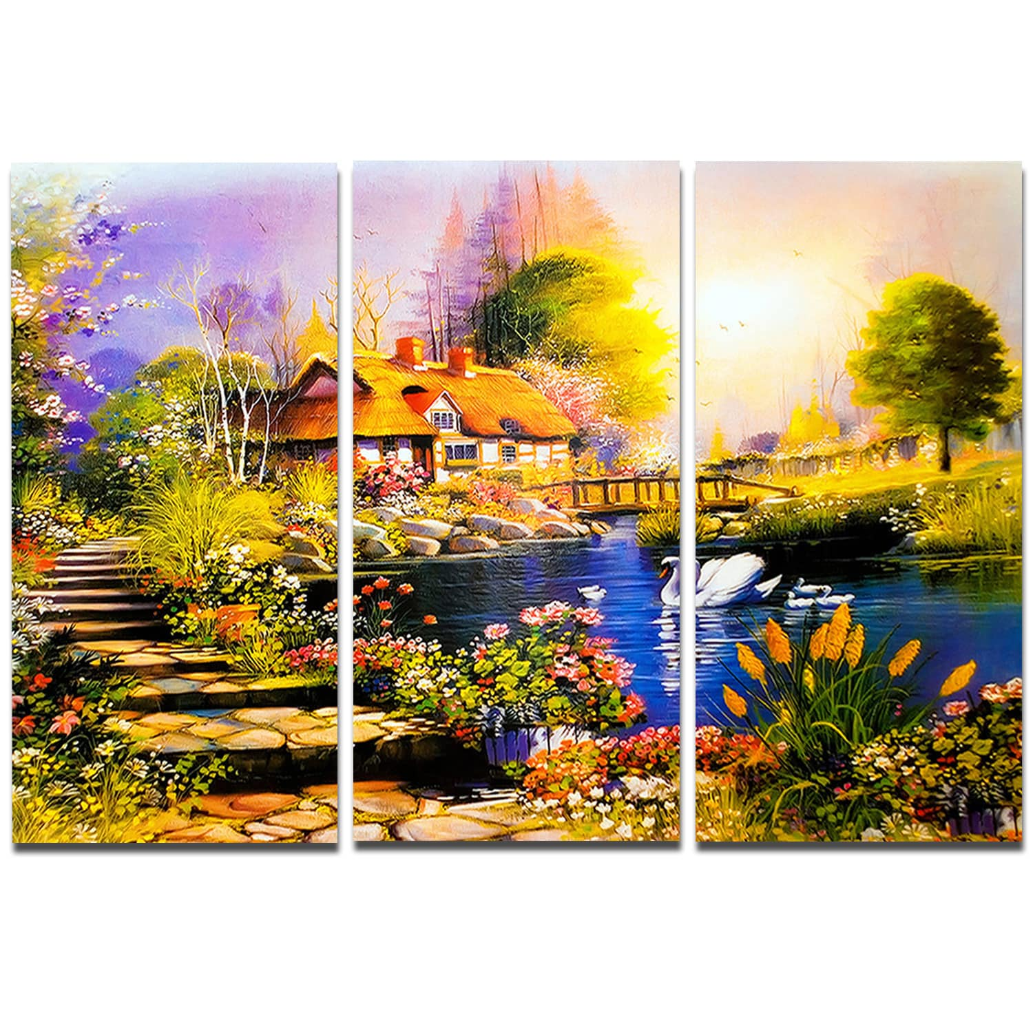 Shop Designart \'House near the Lake Swans\' Landscape Metal Wall Art ...