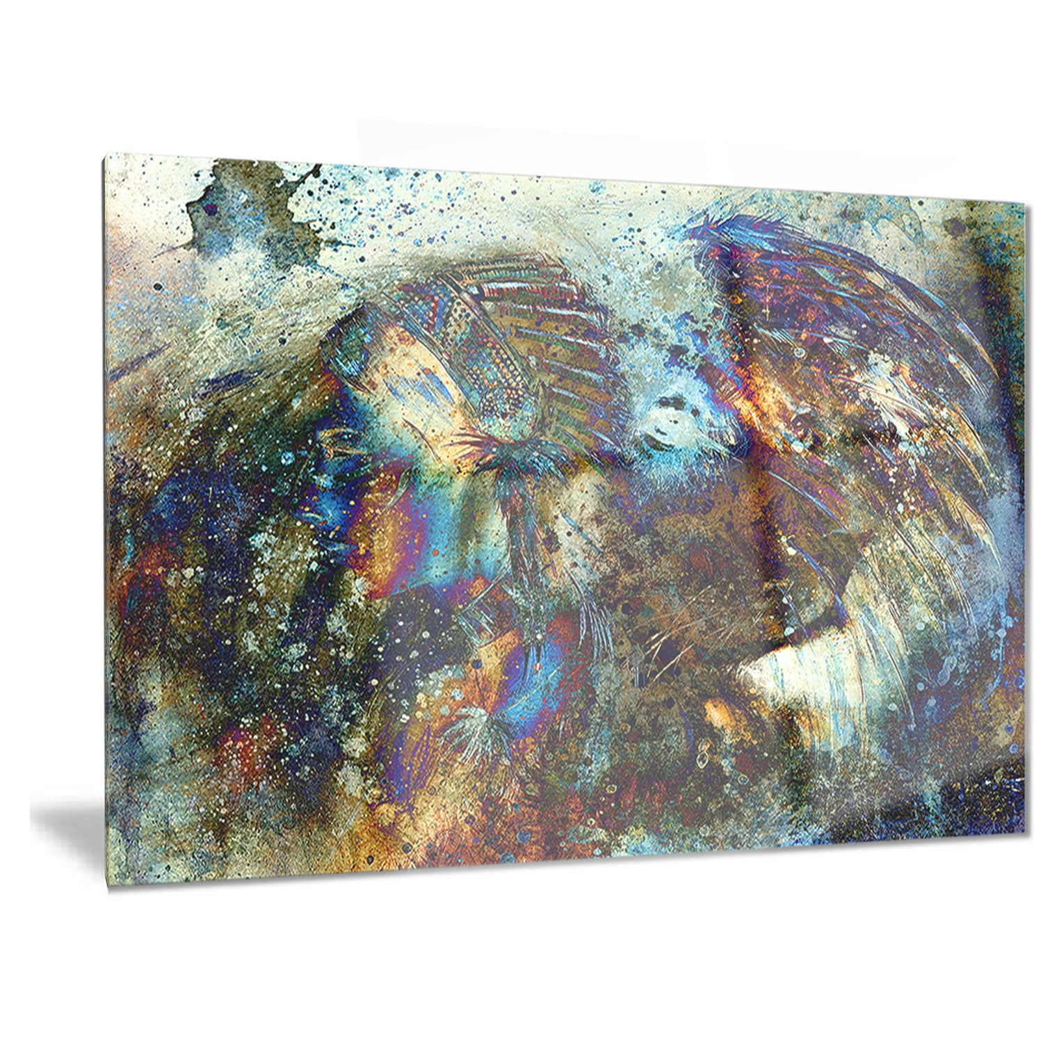 Shop Designart Indian Woman Collage With Lion Woman Metal Wall Art