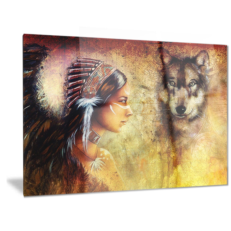 Designart \'Woman with Wolf\' Portrait Metal Wall Art - Free Shipping ...