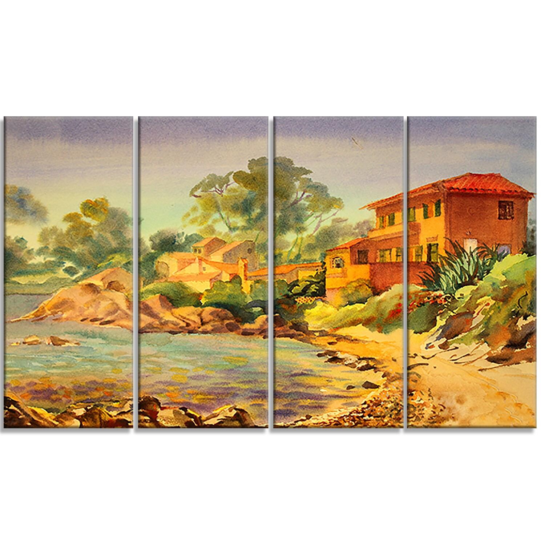 Designart \'French Riviera\' Landscape Metal Wall Art - Free Shipping ...
