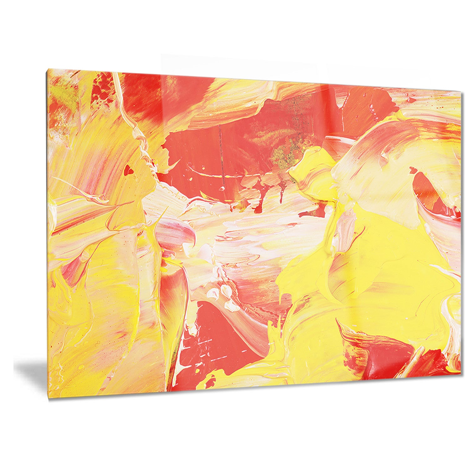 Designart \'Yellow and Red Abstract Art\' Abstract Metal Wall Art ...