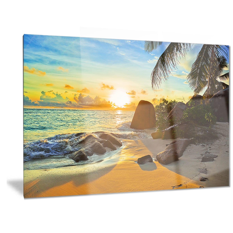 Designart \'Sunset in Tropical Beach\' Landscape Photo Metal Wall Art ...