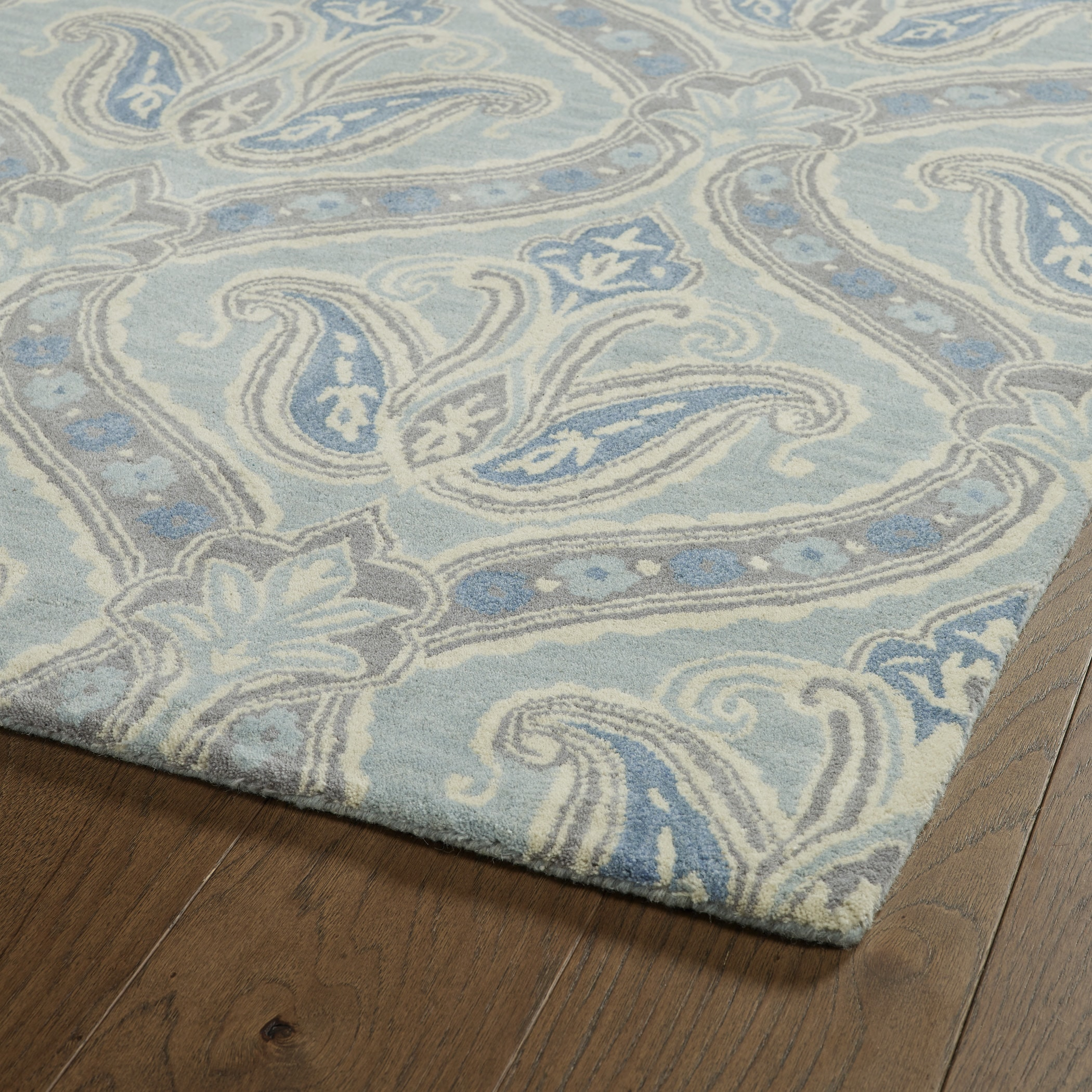 Hand Tufted Seldon Spa Blue Paisley Rug 8 X 10 Free Shipping
