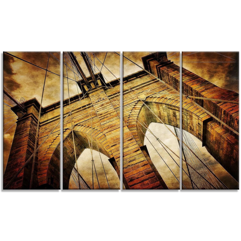Designart \'Vintage Brooklyn Bridge\' Contemporary Metal Wall Art ...