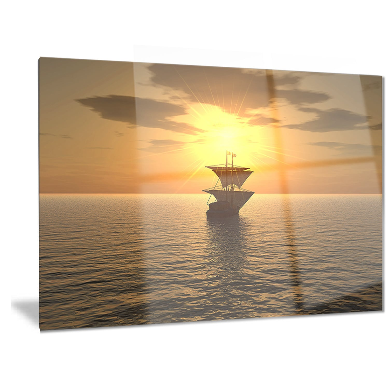 Designart \'Ship and Sunset\' Seascape Photography Metal Wall Art ...