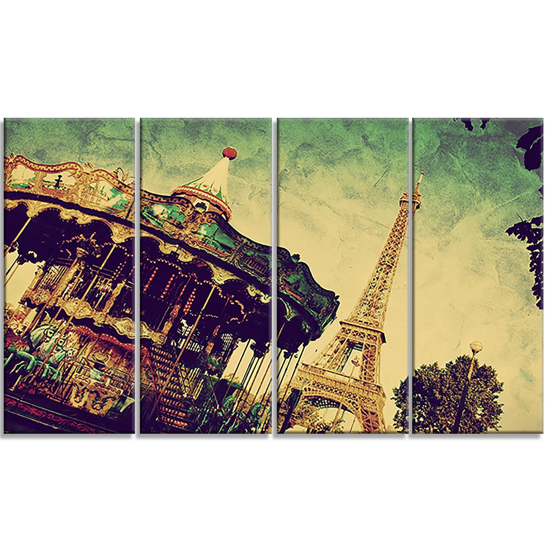 Shop Designart \'Eiffel Tower Retro Style\' Landscape Metal Wall Art ...