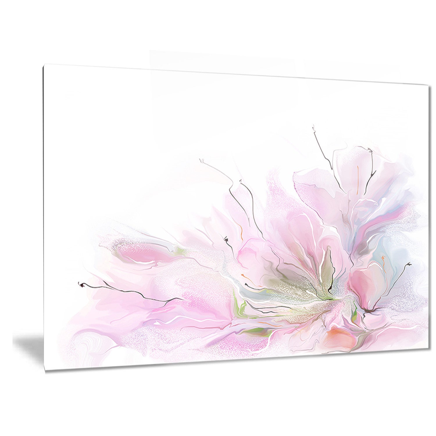 Designart Lovely Pink Flowers Floral Contemporary Metal Wall Art