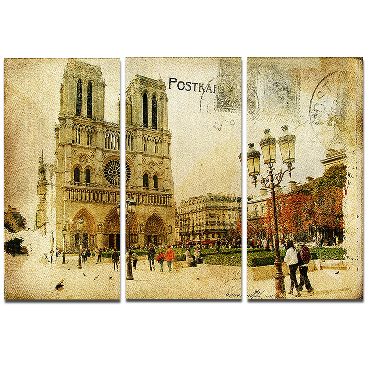 Designart \'Notre Dame Cathedral Vintage Card\' Contemporary Metal ...