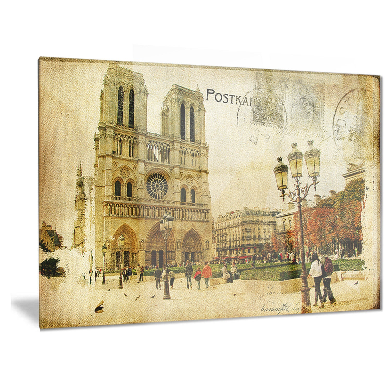 Shop Designart \'Notre Dame Cathedral Vintage Card\' Contemporary ...
