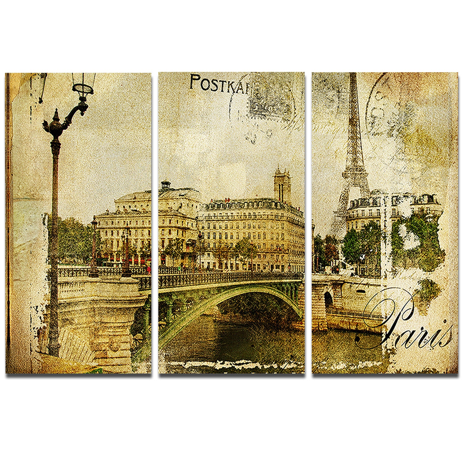 Shop Designart \'Vintage Paris\' Digital Art Cityscape Metal Wall Art ...