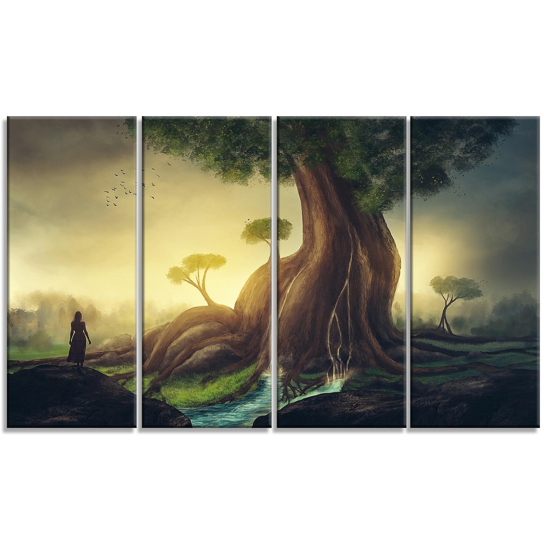 Designart \'Giant Tree with Woman\' Digital Art Metal Wall Art - Free ...