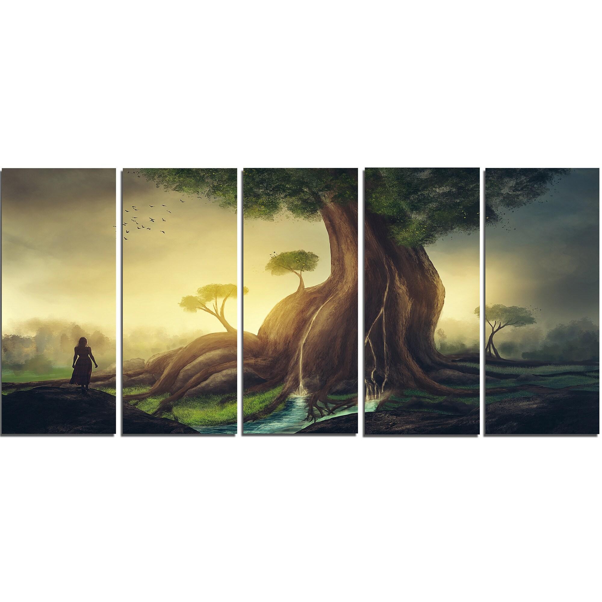 Modern Metal Oak Tree Wall Art Composition - All About Wallart ...