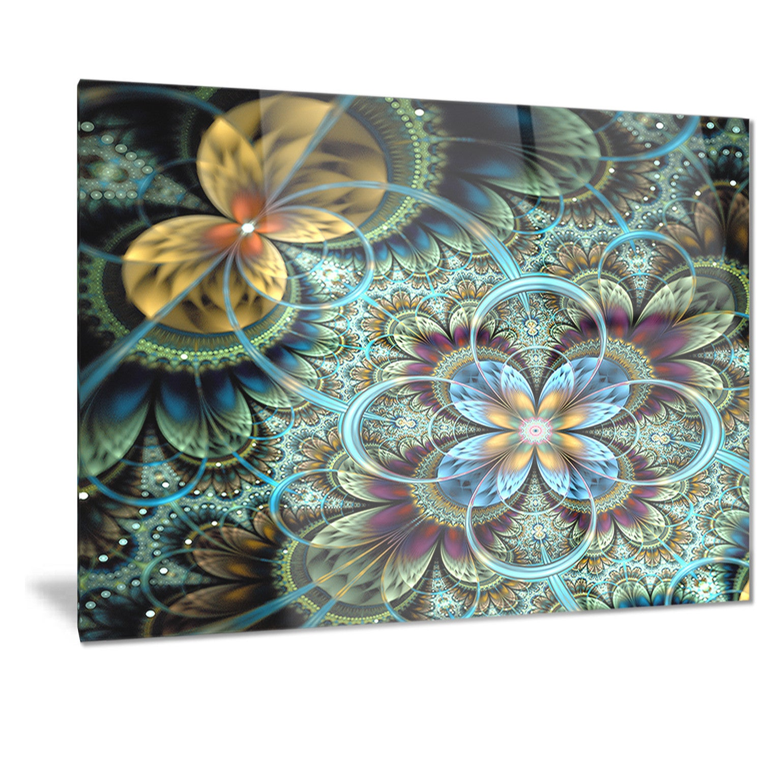 Shop designart fractal dark orange blue flowers digital floral shop designart fractal dark orange blue flowers digital floral metal wall art free shipping today overstock 11869874 izmirmasajfo