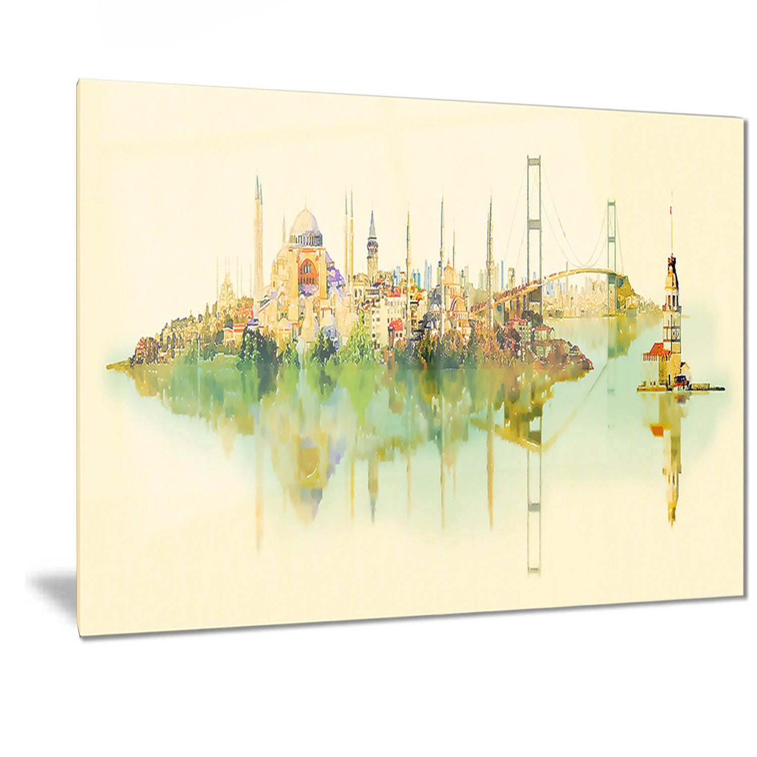 Shop Designart \'Istanbul Panoramic View\' Cityscape Watercolor Metal ...