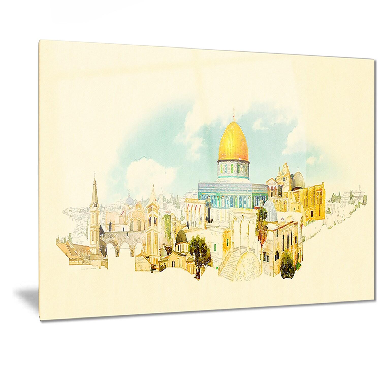 Shop Designart \'Jerusalem Panoramic View\' Cityscape Watercolor Metal ...