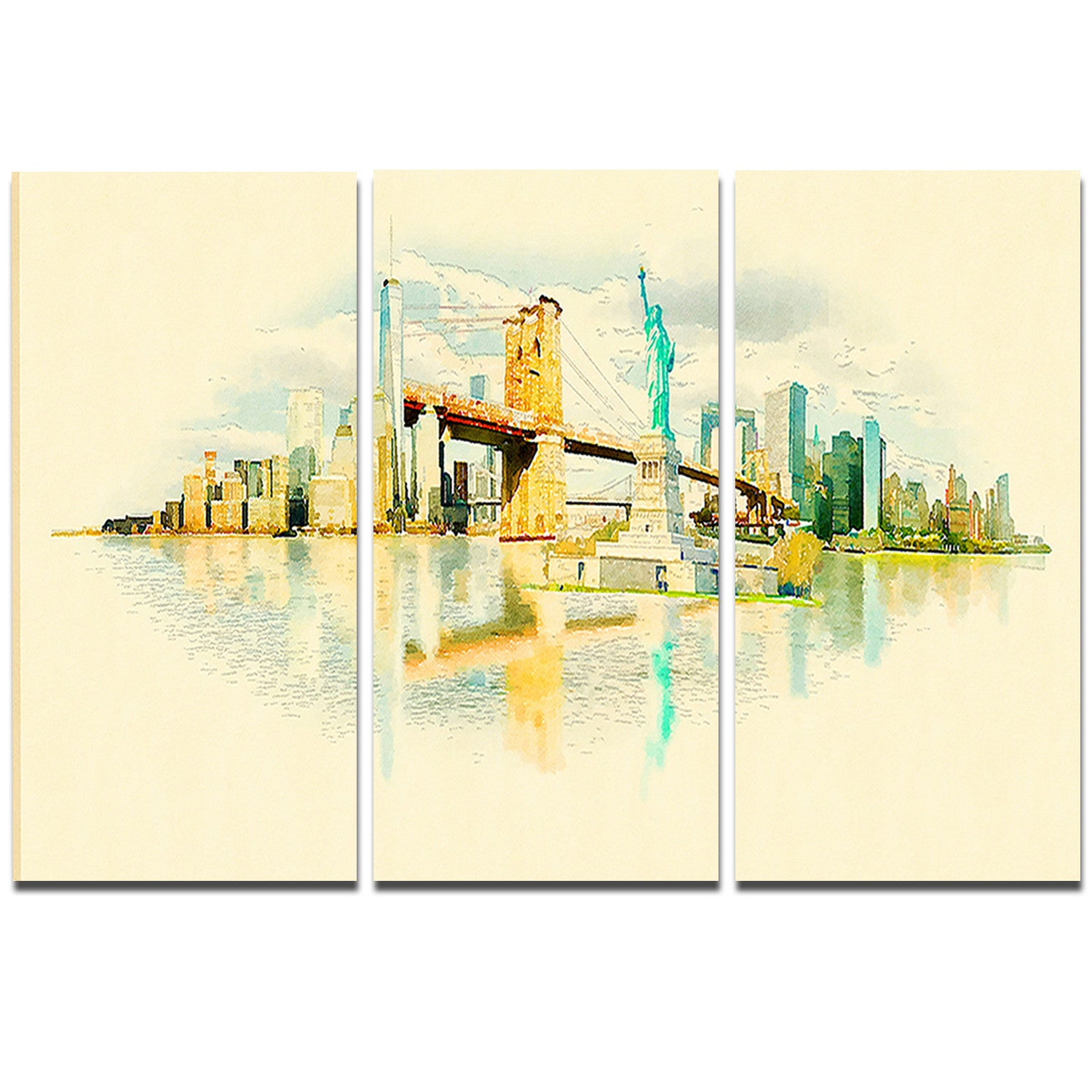 Designart \'New York Panoramic View\' Cityscape Watercolor Metal Wall ...