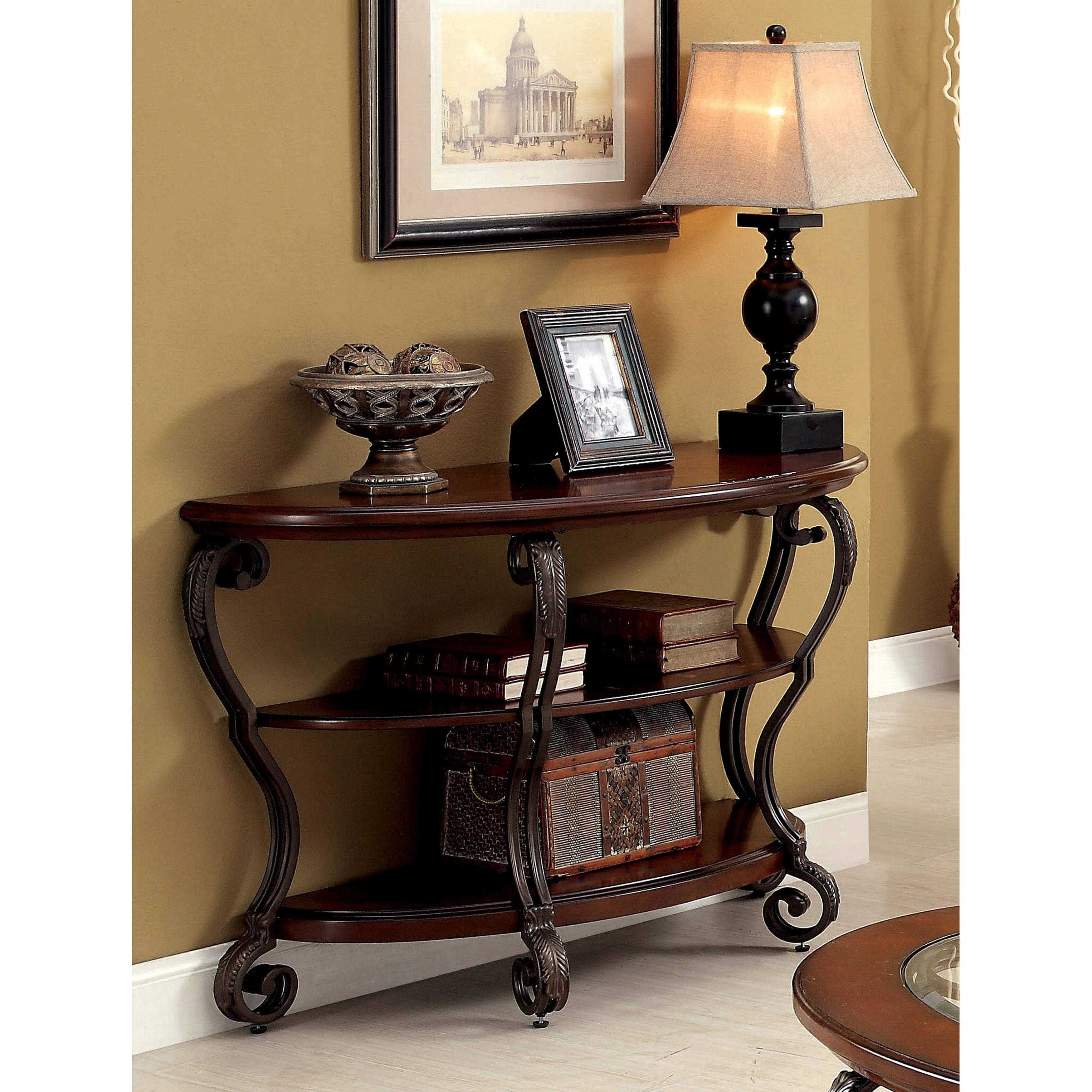 Furniture Of America Cohler Brown Cherry Finished Wood Metal Elegant Half Moon Sofa Table On Free Shipping Today 11870752