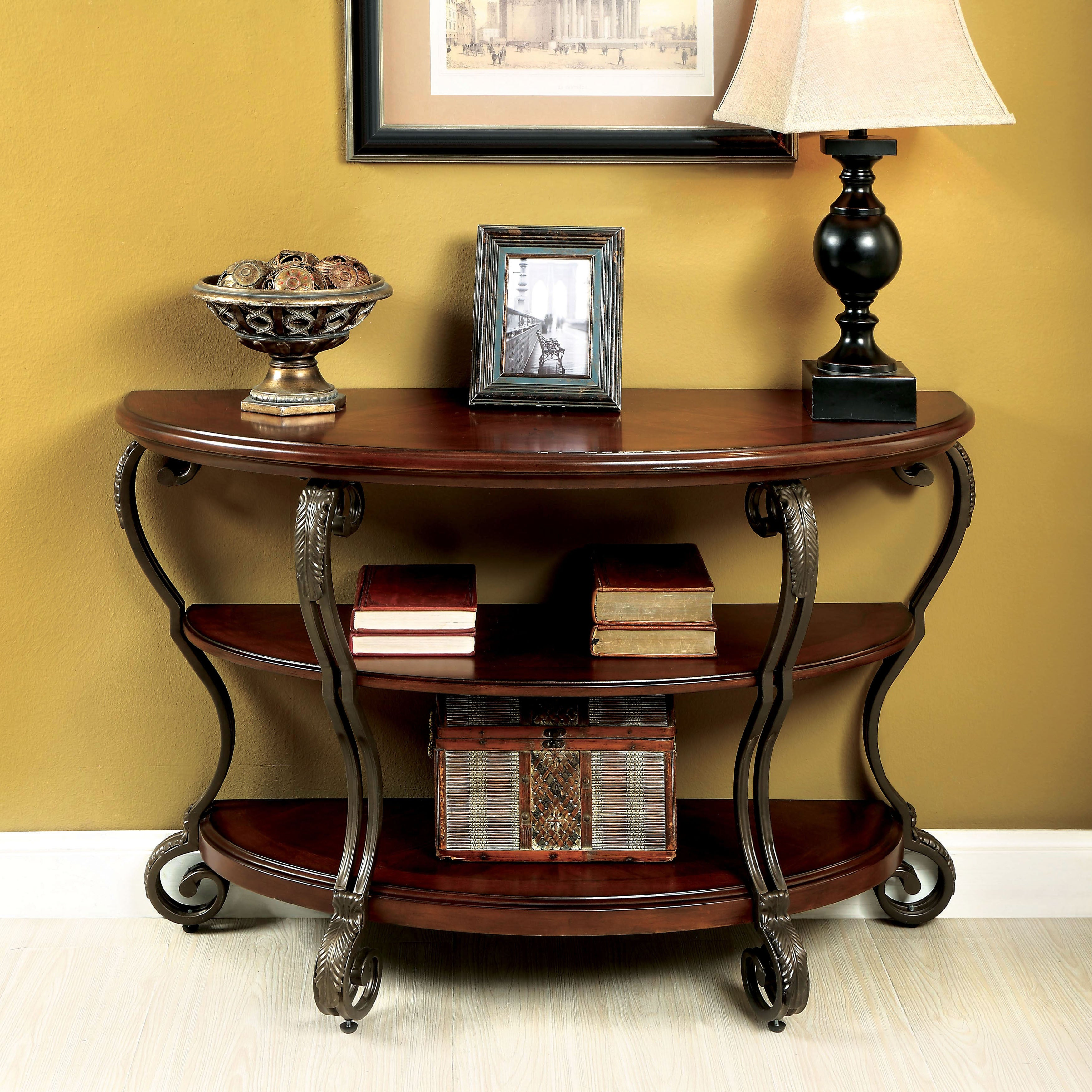 Furniture Of America Cohler Brown Cherry Finished Wood Metal Elegant Half Moon Sofa Table Free Shipping Today 18769305