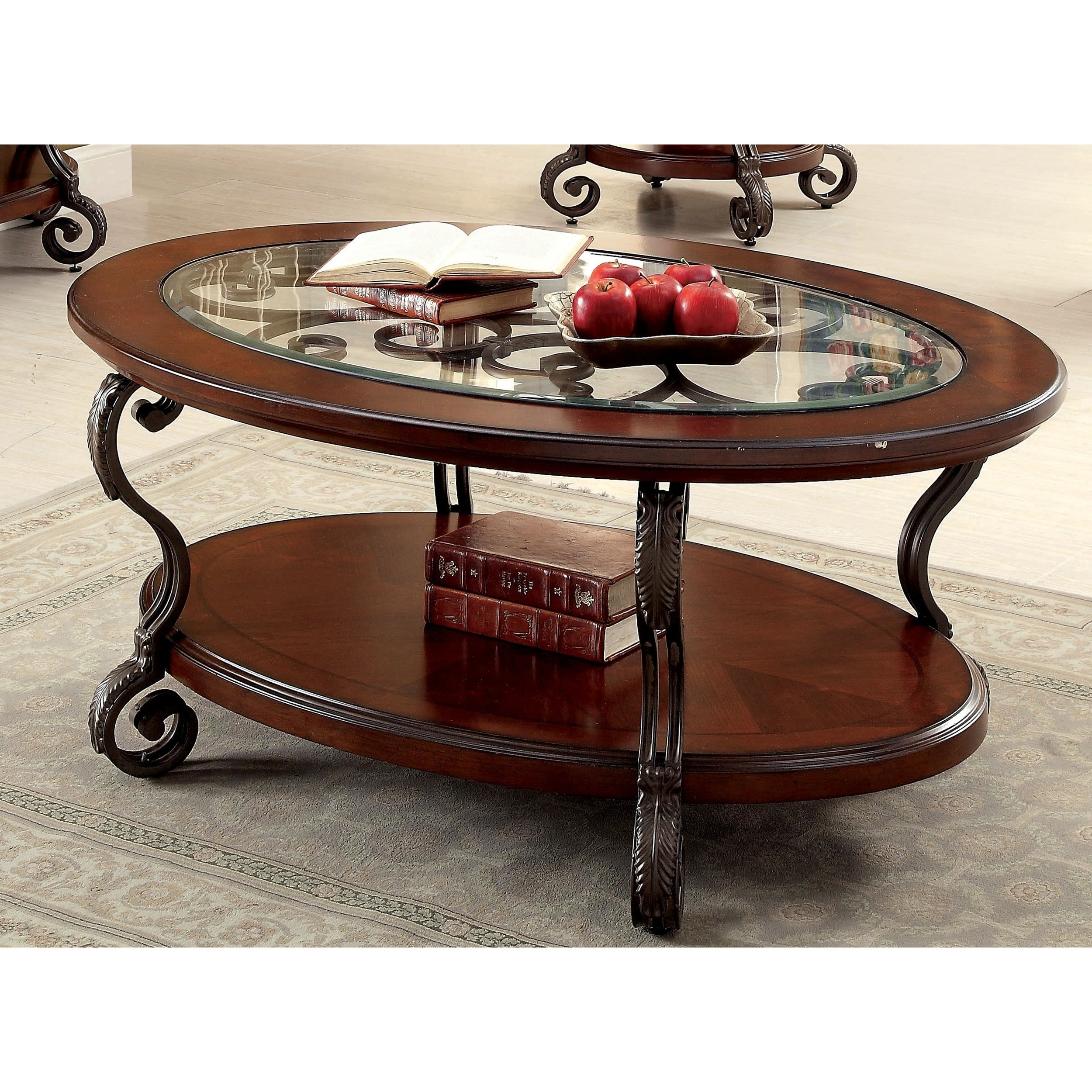 Shop furniture of america cohler elegant glass top cherry brown oval coffee table on sale free shipping today overstock com 11870761