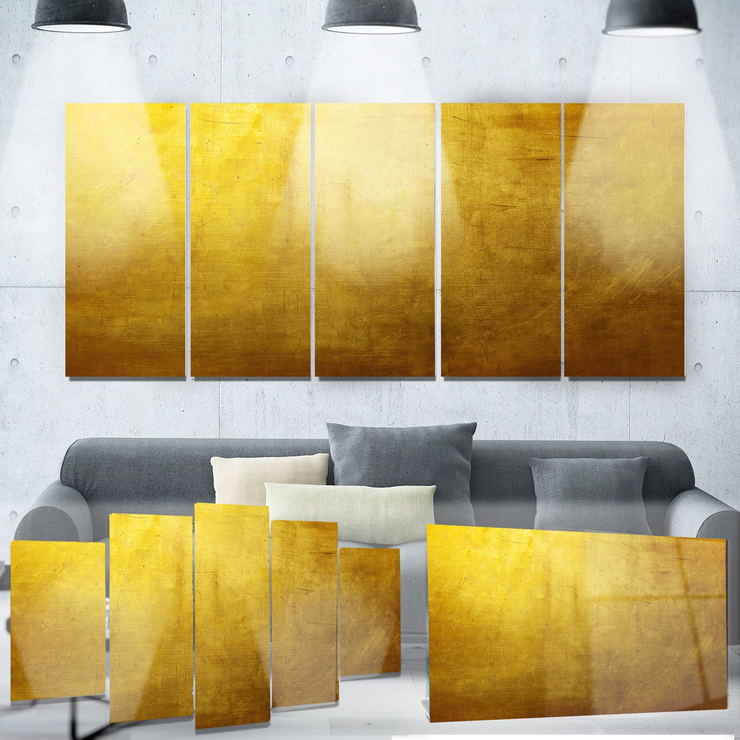 Shop Designart \'Gold Texture Wallpaper\' Abstract Digital Art Metal ...