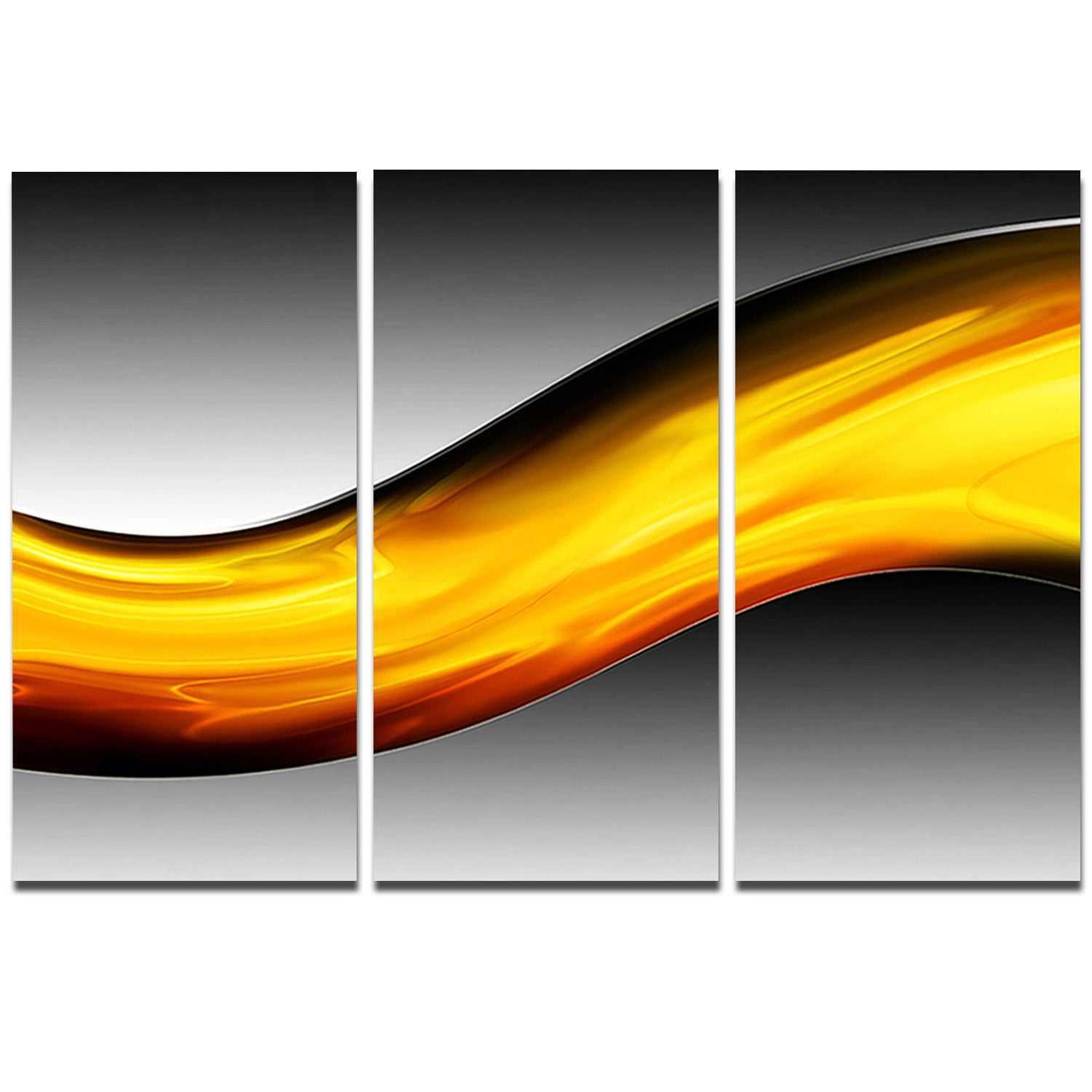 Designart \'Wave of Golden Lava\' Abstract Digital Art Metal Wall Art ...