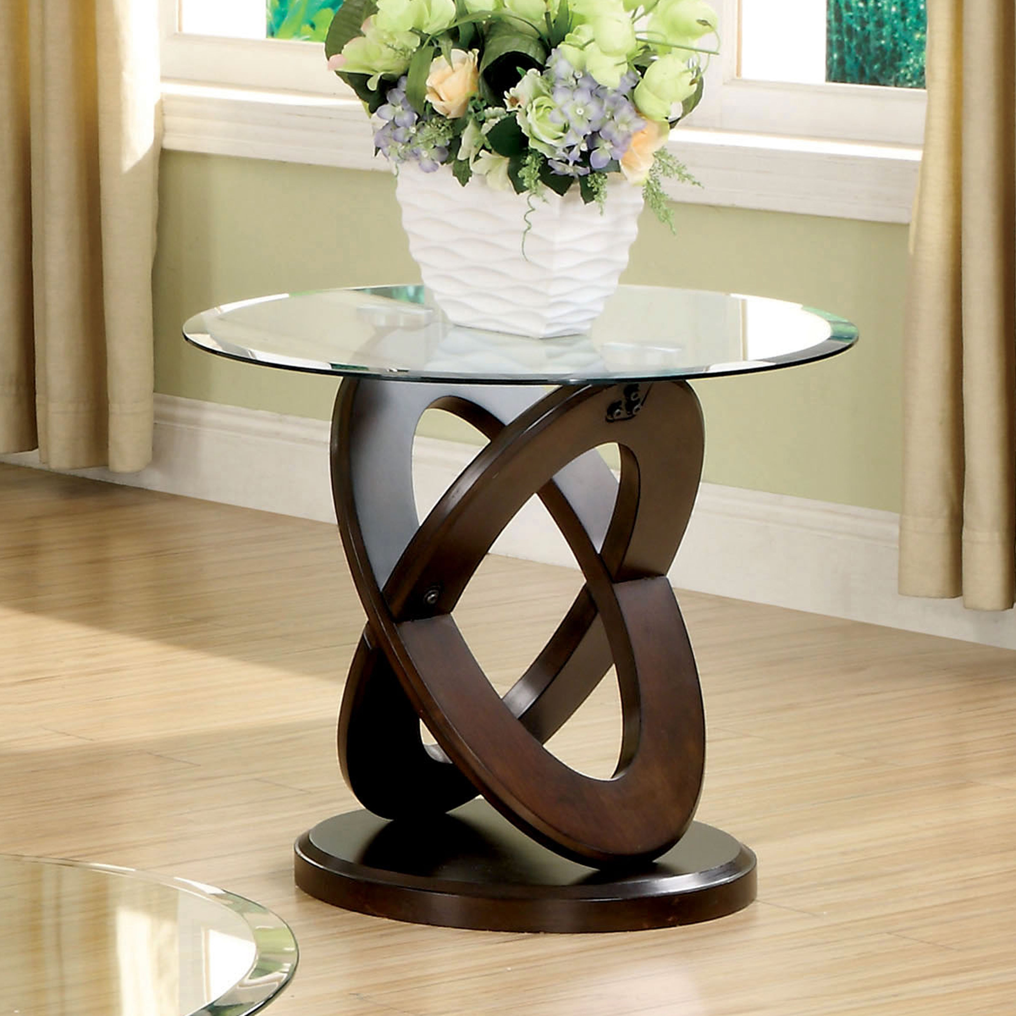 Shop furniture of america evalline round glass top end table on sale free shipping today overstock com 11871032