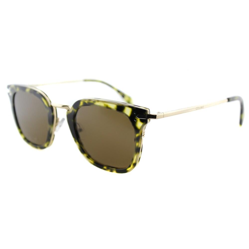 f89deda2122 Shop Celine CL 41402 J1L Green Havana Gold Plastic Square Brown Lens  Sunglasses - Ships To Canada - Overstock - 11871381