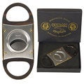 Cuban Crafters Deluxe Luxury Silver and Black Cigar Cutter With Wooden Handles