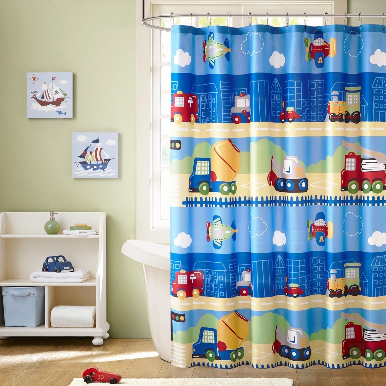 Shop Mi Zone Kids Truck Zone Multi Printed Shower Curtain - On Sale ...