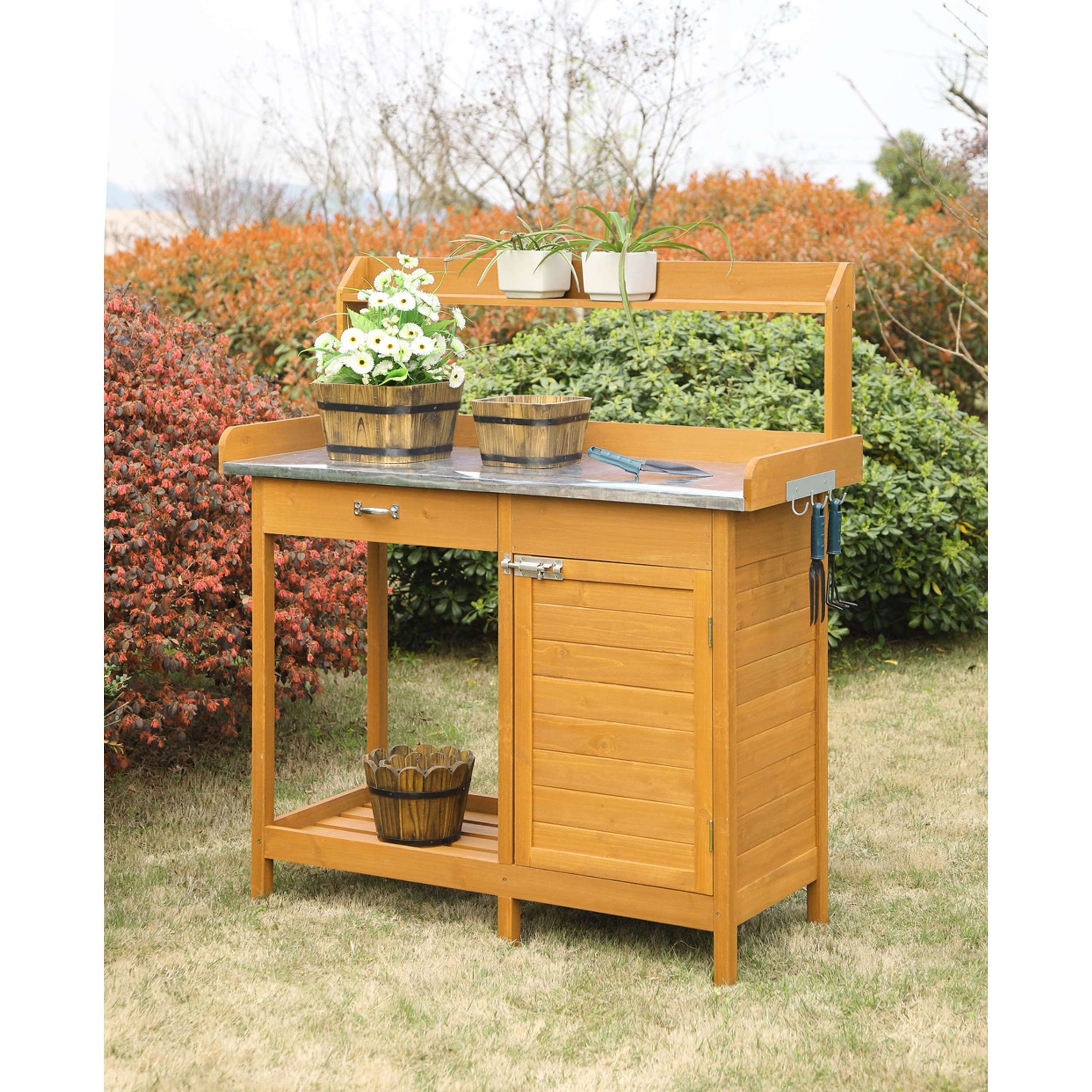 Convenience Concepts Wood Cabinet Deluxe Potting Bench On Free Shipping Today 11878079