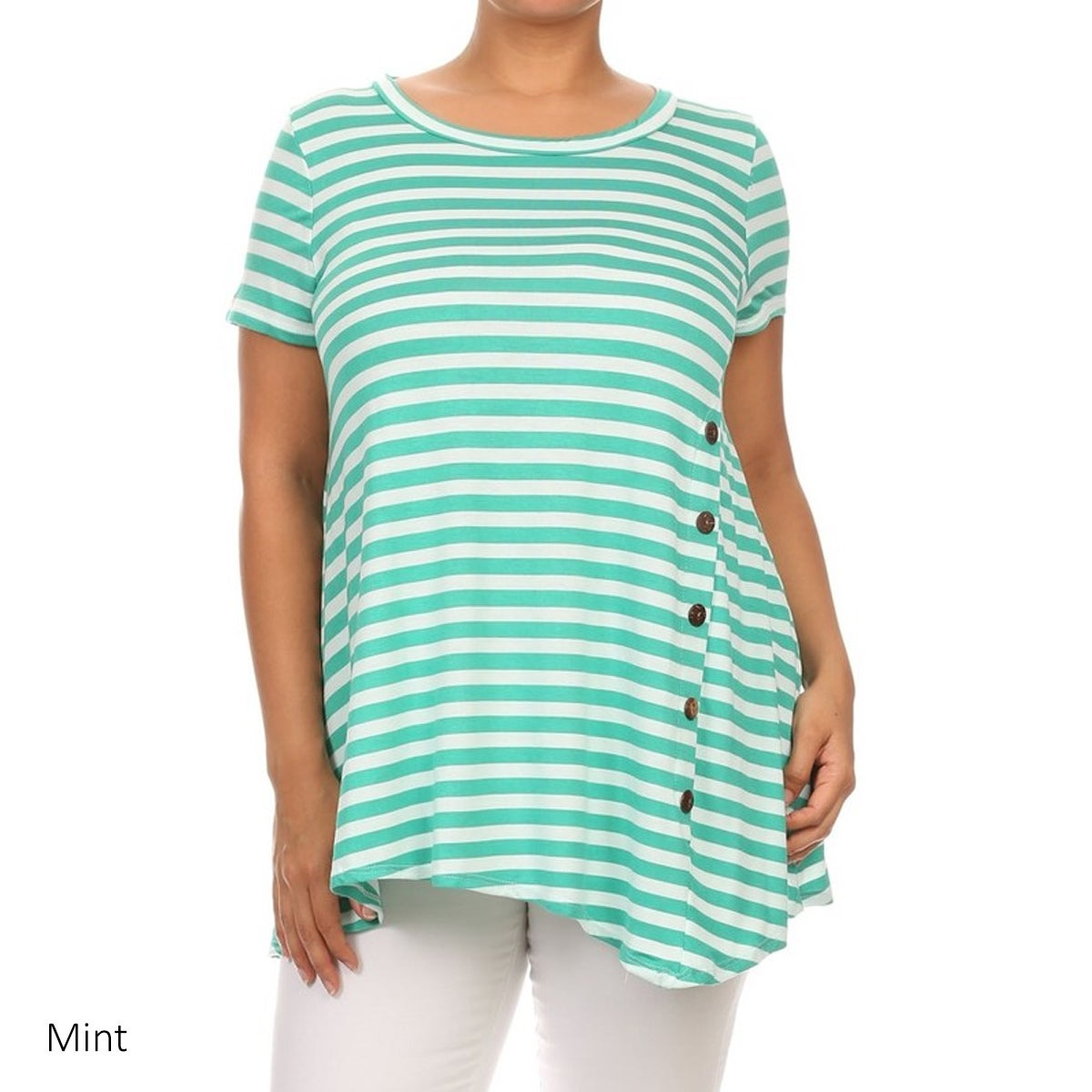 ca8a5ac42 Shop MOA Collection Women's Plus-size Multi-colored Rayon Striped Button  Tab Top - Free Shipping On Orders Over $45 - Overstock - 11878232