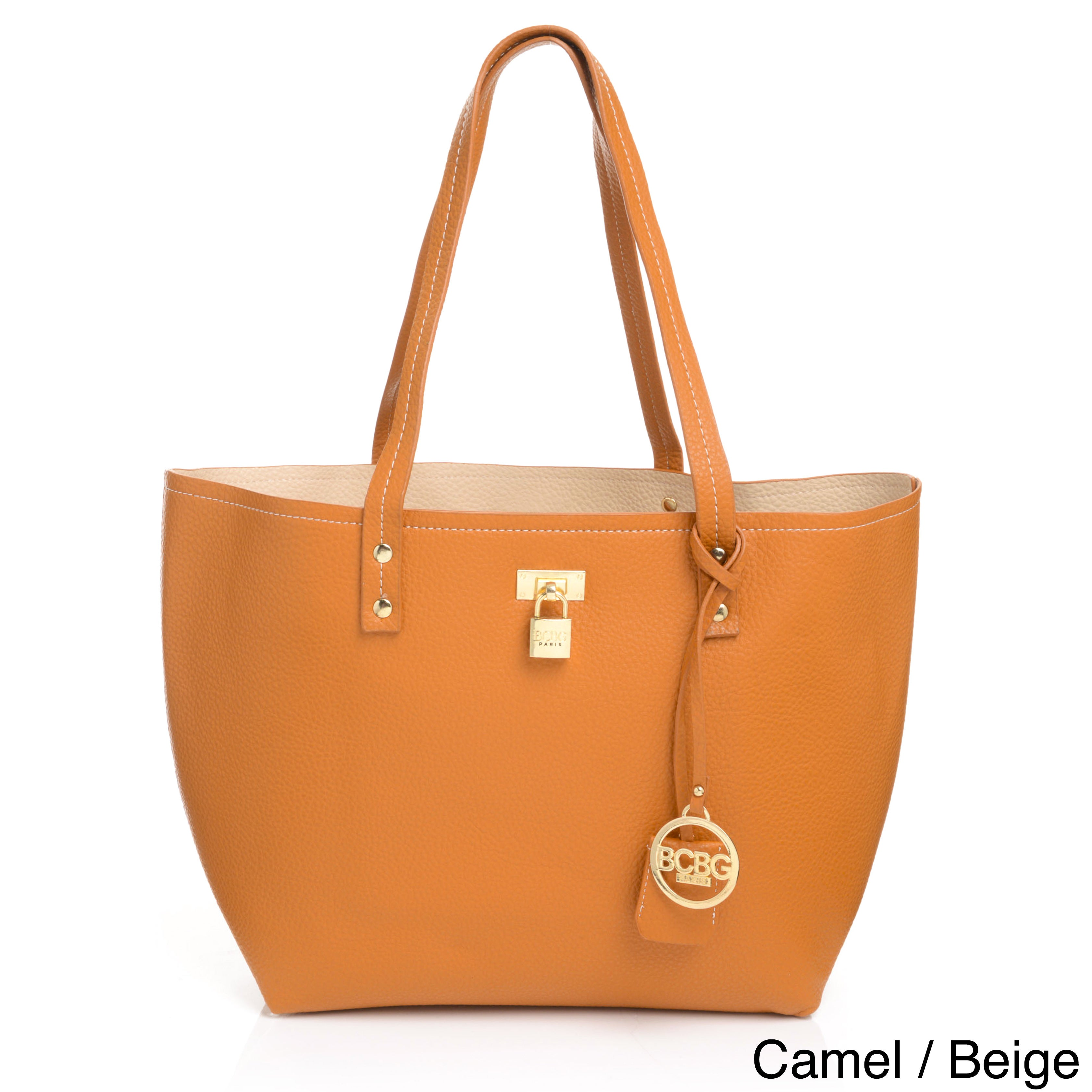 cc23163d63ef Shop BCBG Paris Faux Leather Reversible Twist-lock Tote Bag - Free Shipping  Today - Overstock - 11878566