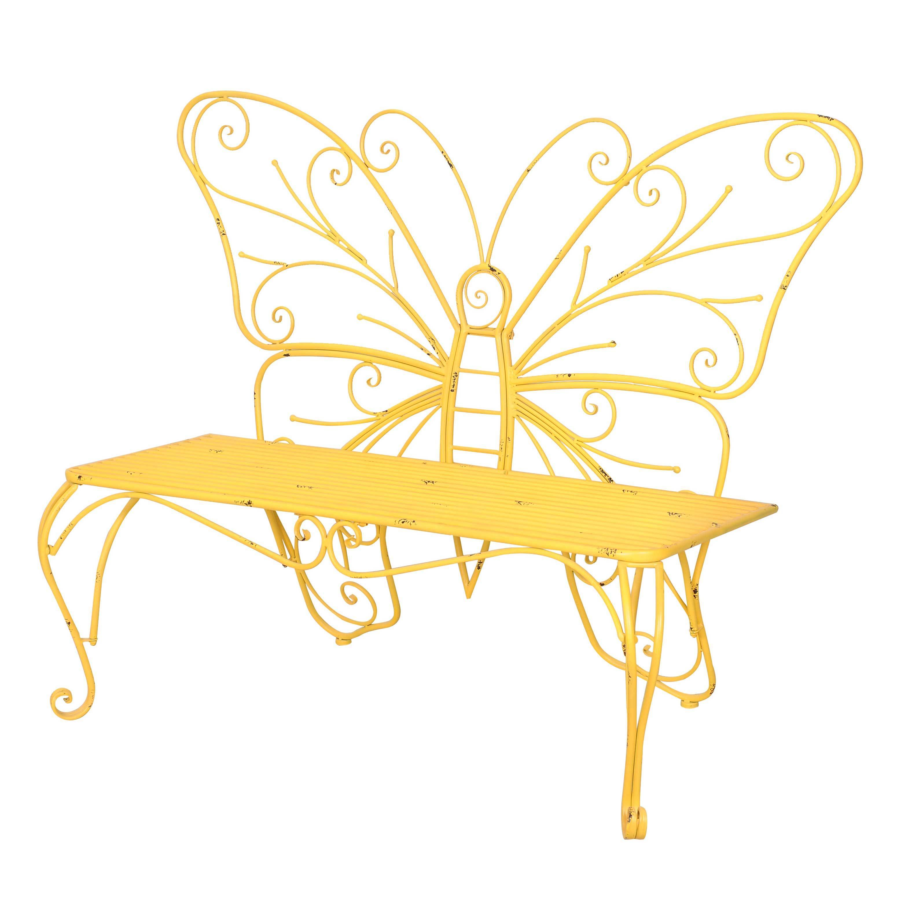 Shop Sunjoy Yellow Iron Butterfly Bench - Free Shipping Today ...