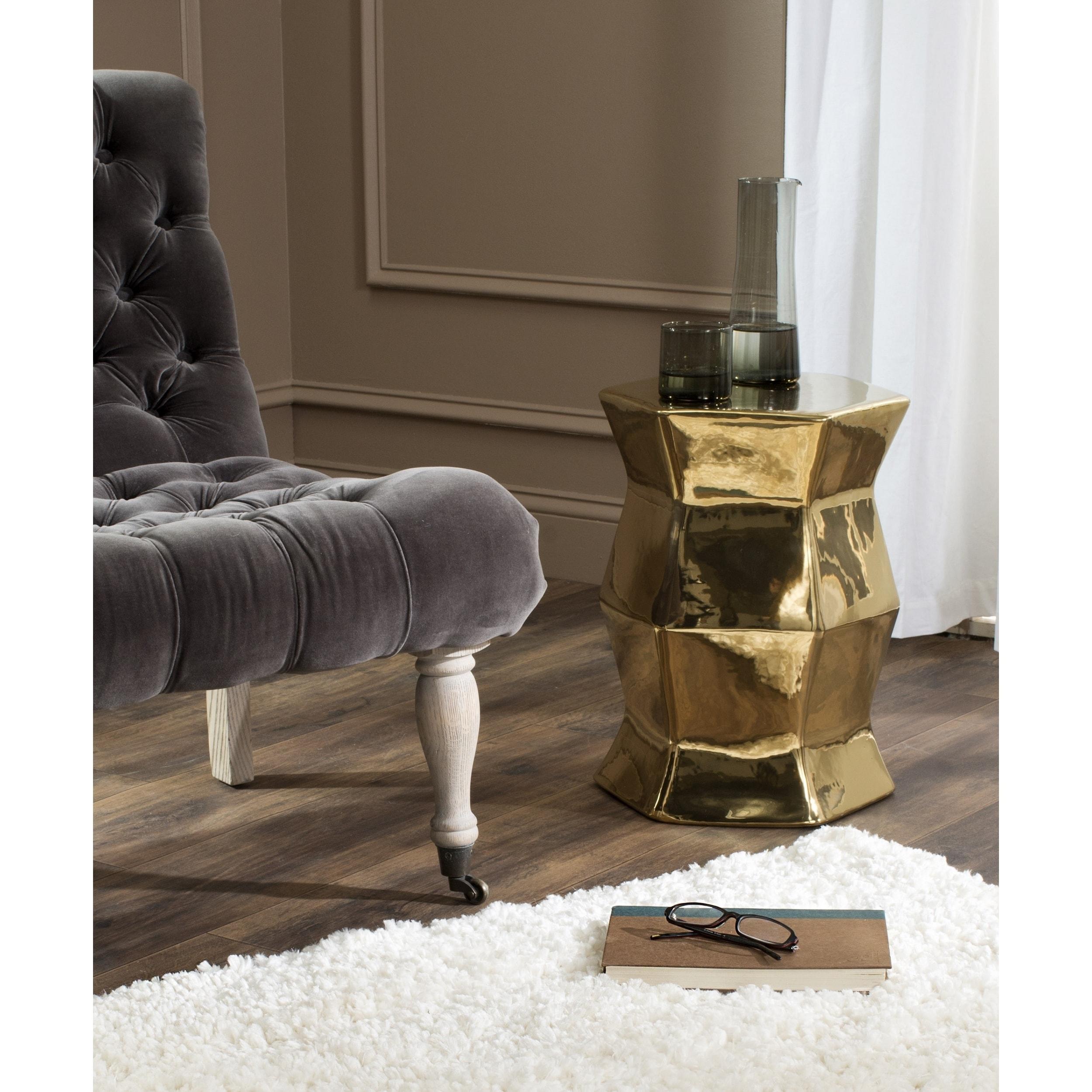 Shop Safavieh Modern Hexagon Plated Gold Garden Stool - On Sale ...
